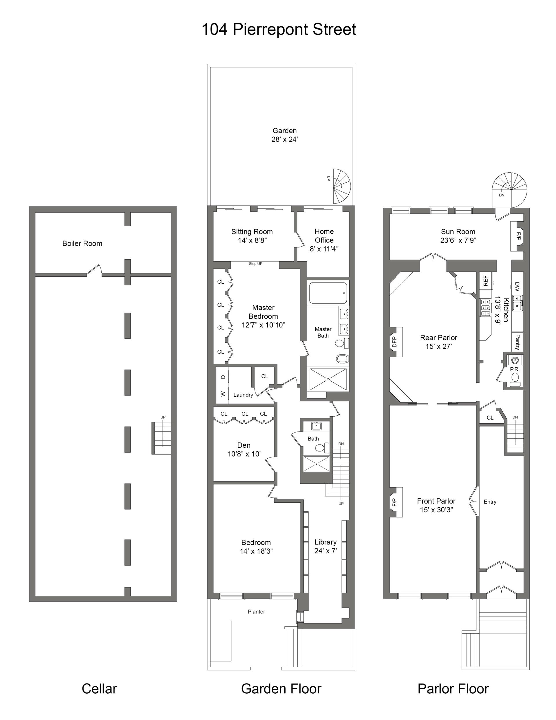 Floor plan of 104 Pierrepont St, 1 - Brooklyn Heights, New York