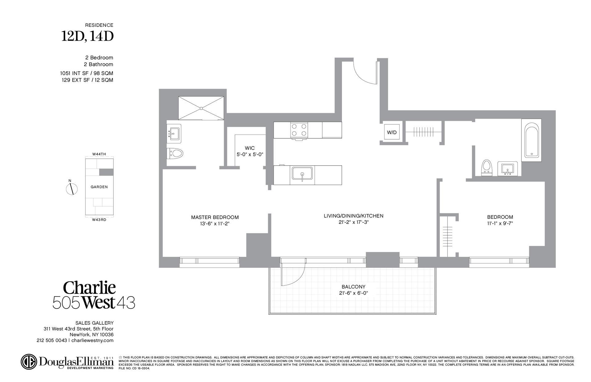 Floor plan of 505 West 43rd St, 12D - Clinton, New York