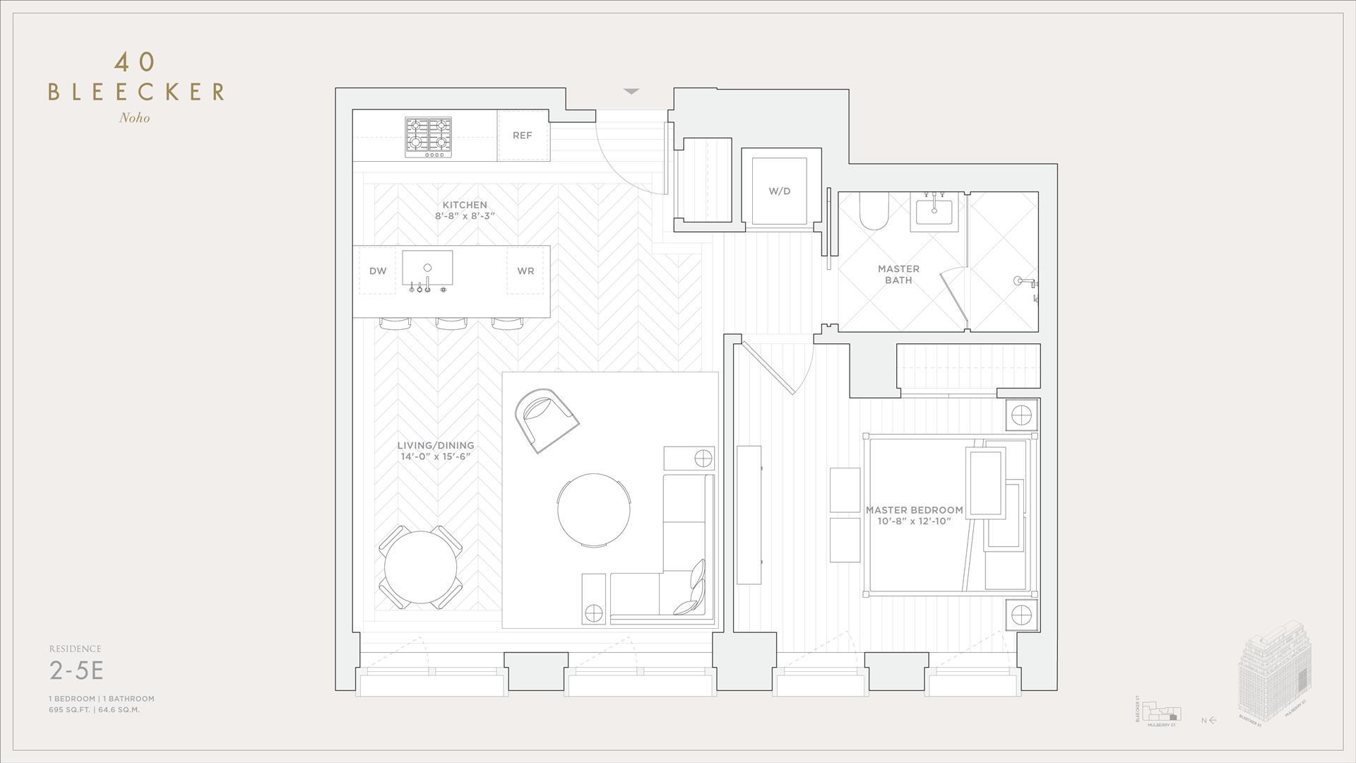 Floor plan of 40 Bleecker St, 2E - NoHo, New York