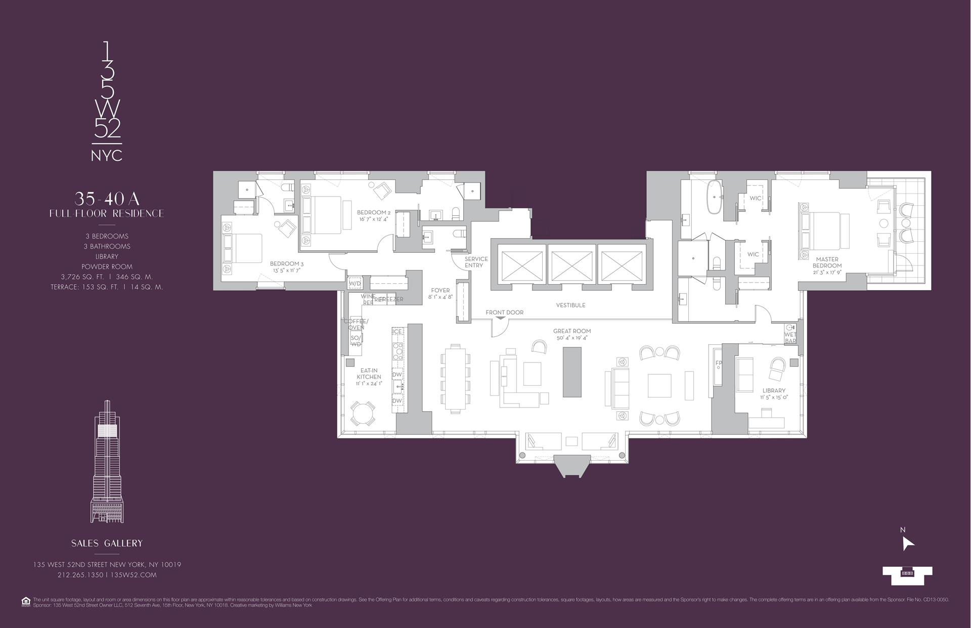 Floor plan of 135 West 52nd Street, 37A - Midtown, New York