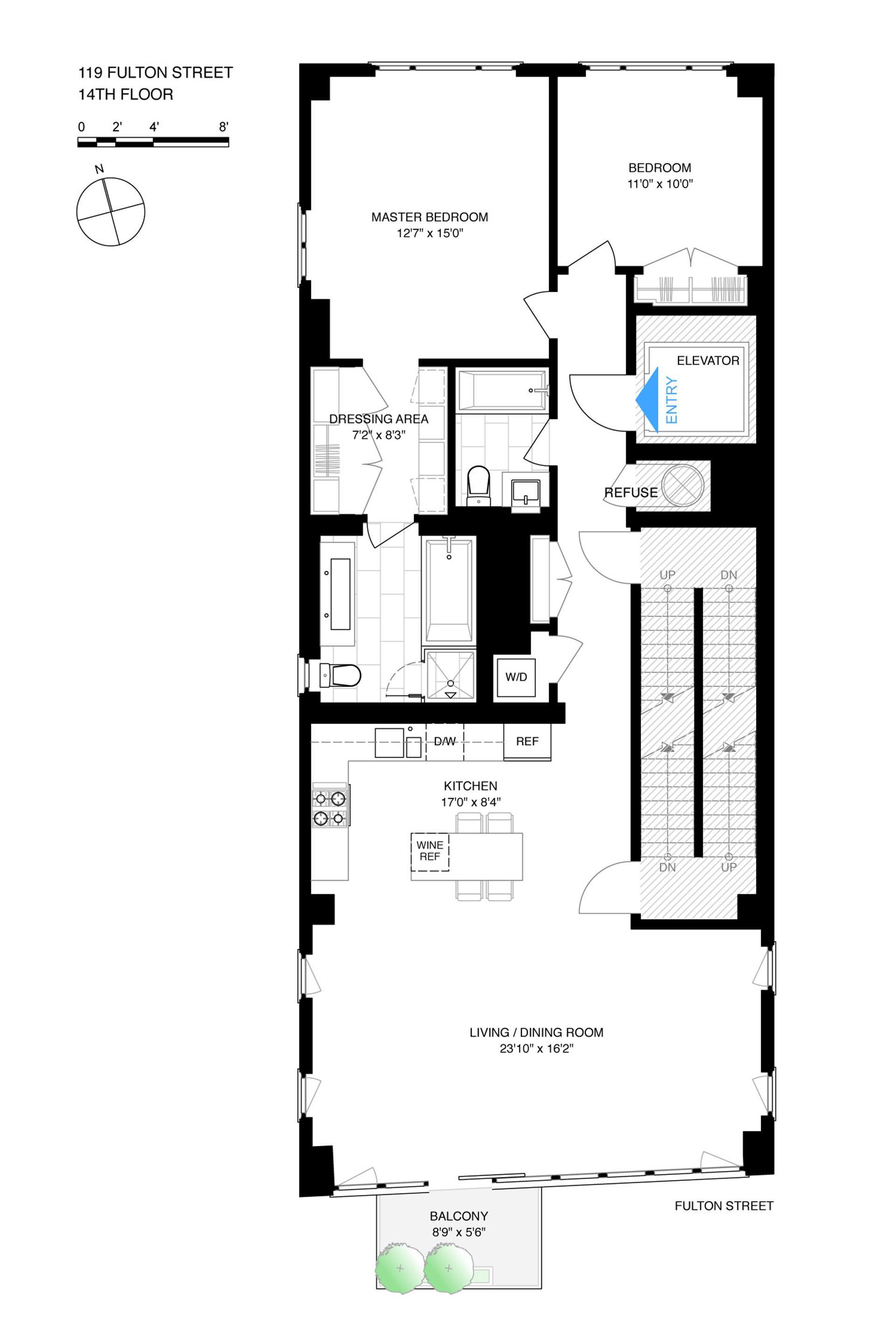 Floor plan of 119 Fulton St, 14 - Financial District, New York