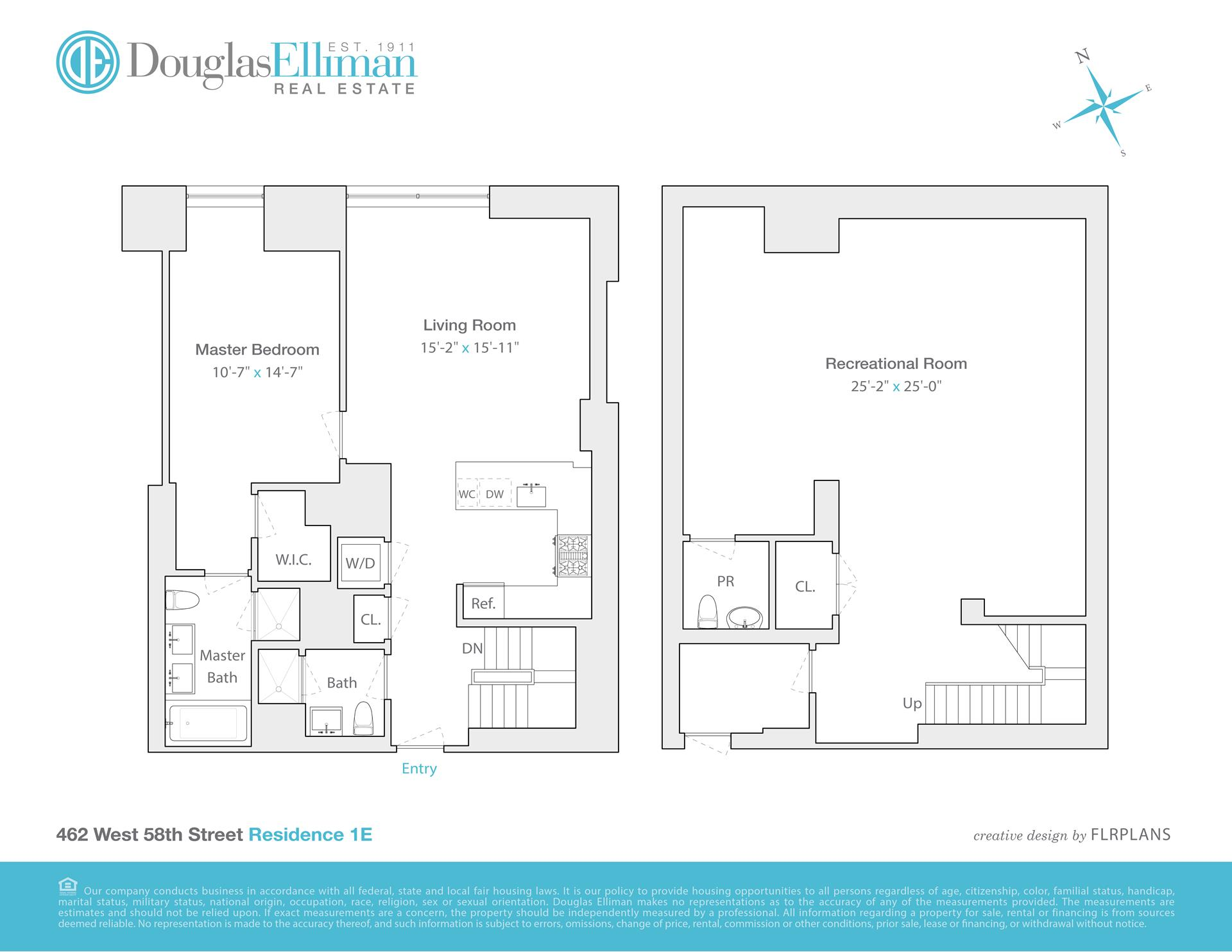 Floor plan of Hudson Hill Condominium, 462 West 58th St, 1E - Clinton, New York
