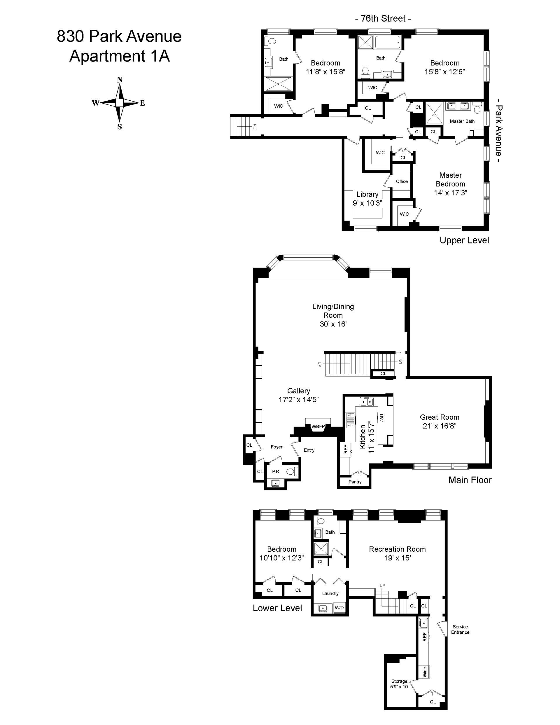 Floor plan of 830 Park Avenue, 1A - Upper East Side, New York