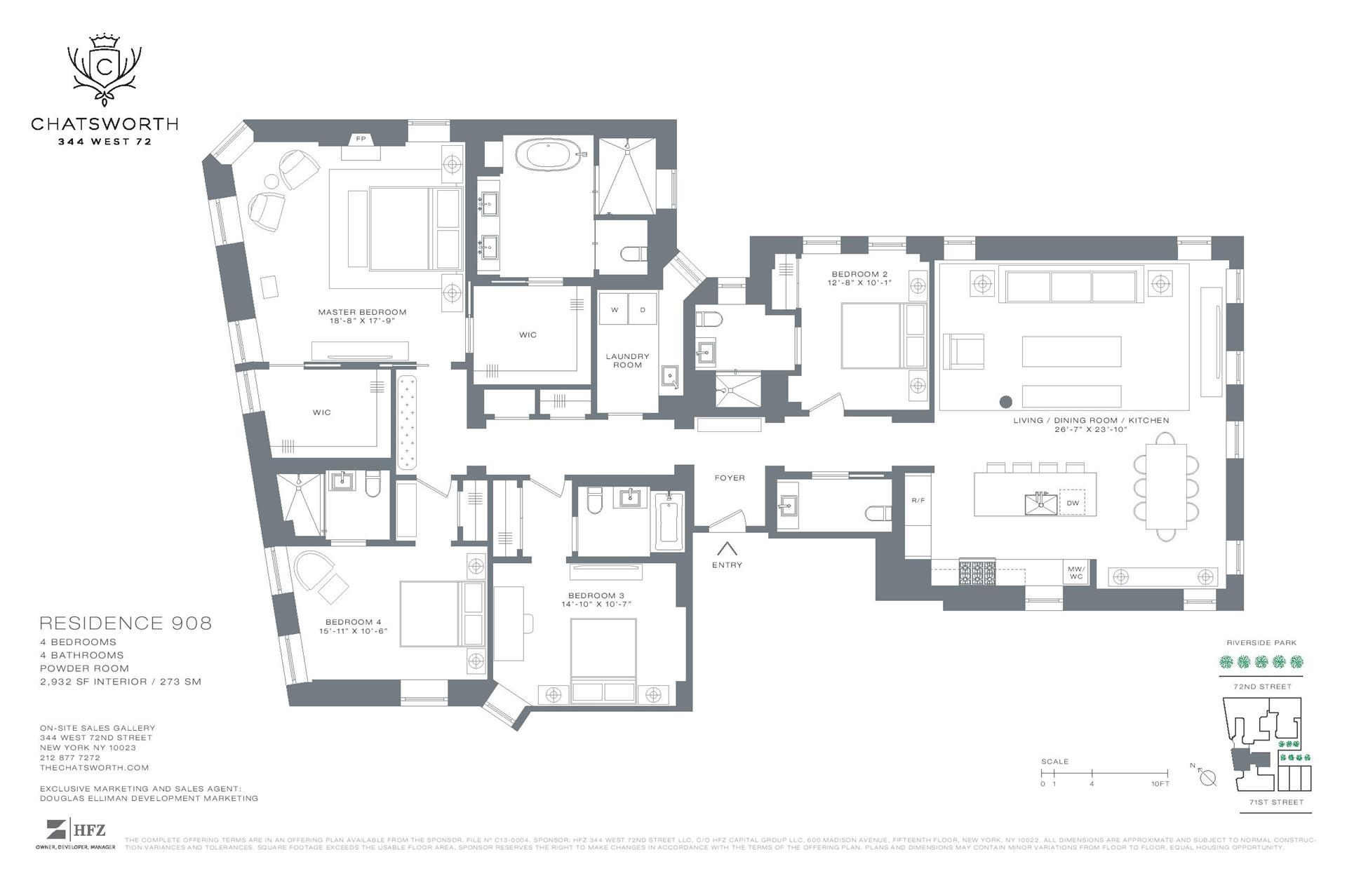 Floor plan of The Chatsworth, 344 West 72nd St, 908 - Upper West Side, New York