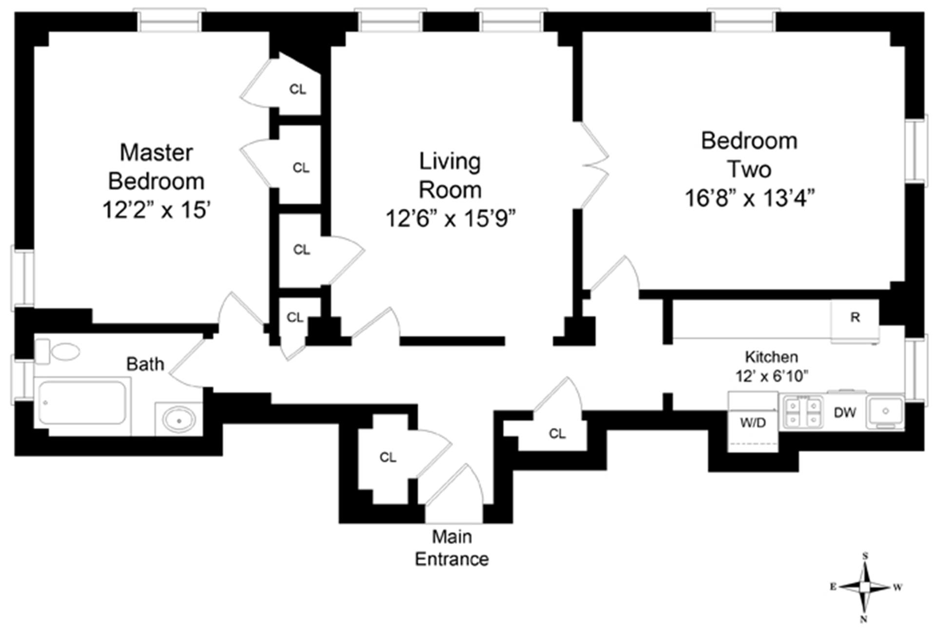 Floor plan of 375 Riverside Drive, 9F - Upper West Side, New York