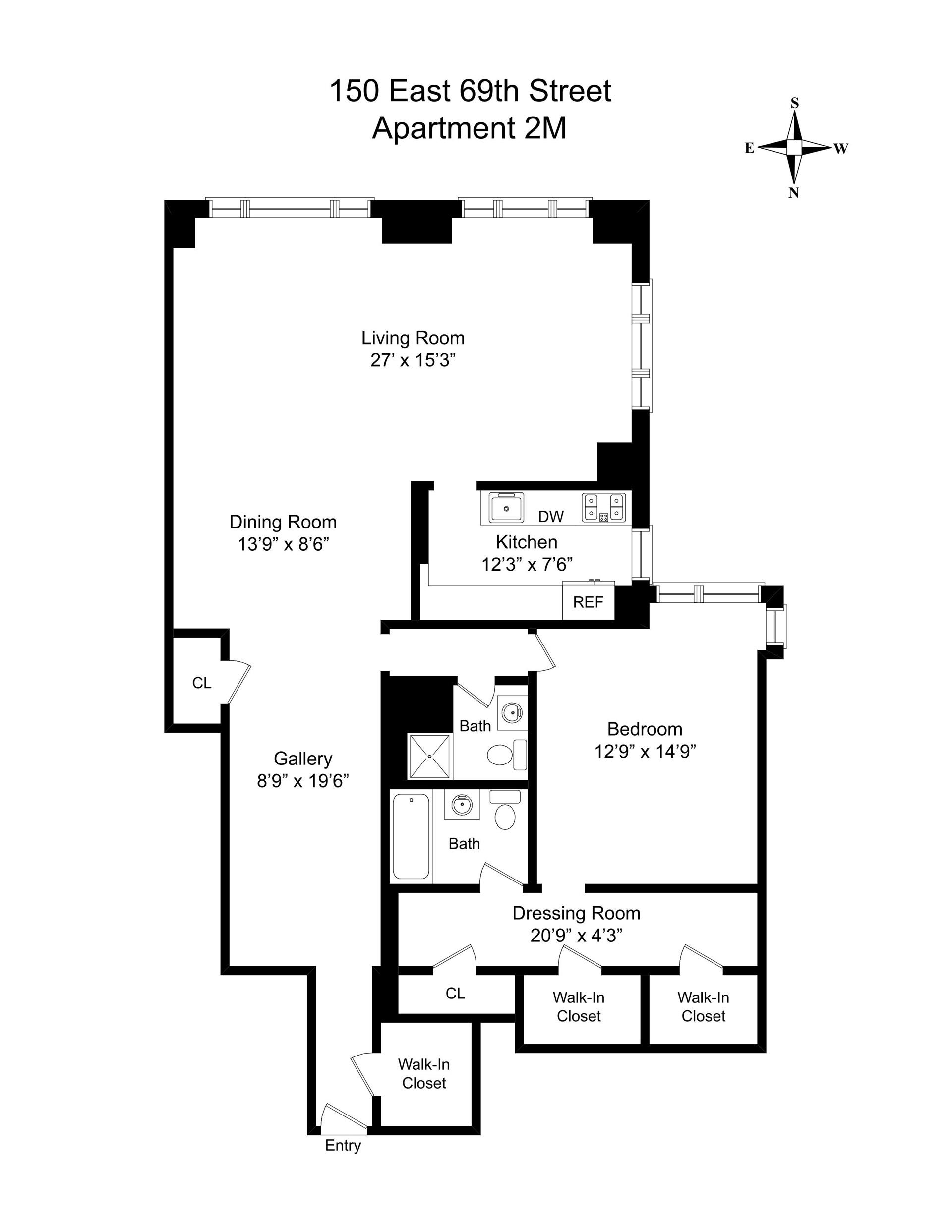 Floor plan of The Imperial House, 150 East 69th St, 2M - Upper East Side, New York