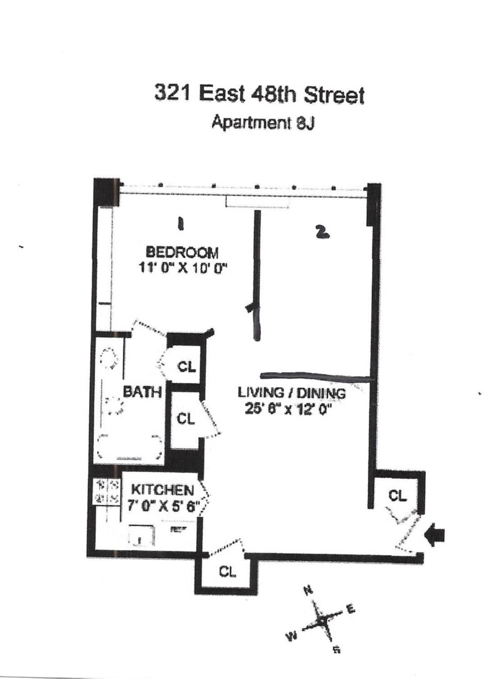 Floor plan of Continental Condo, 321 East 48th St, 8J - Turtle Bay, New York