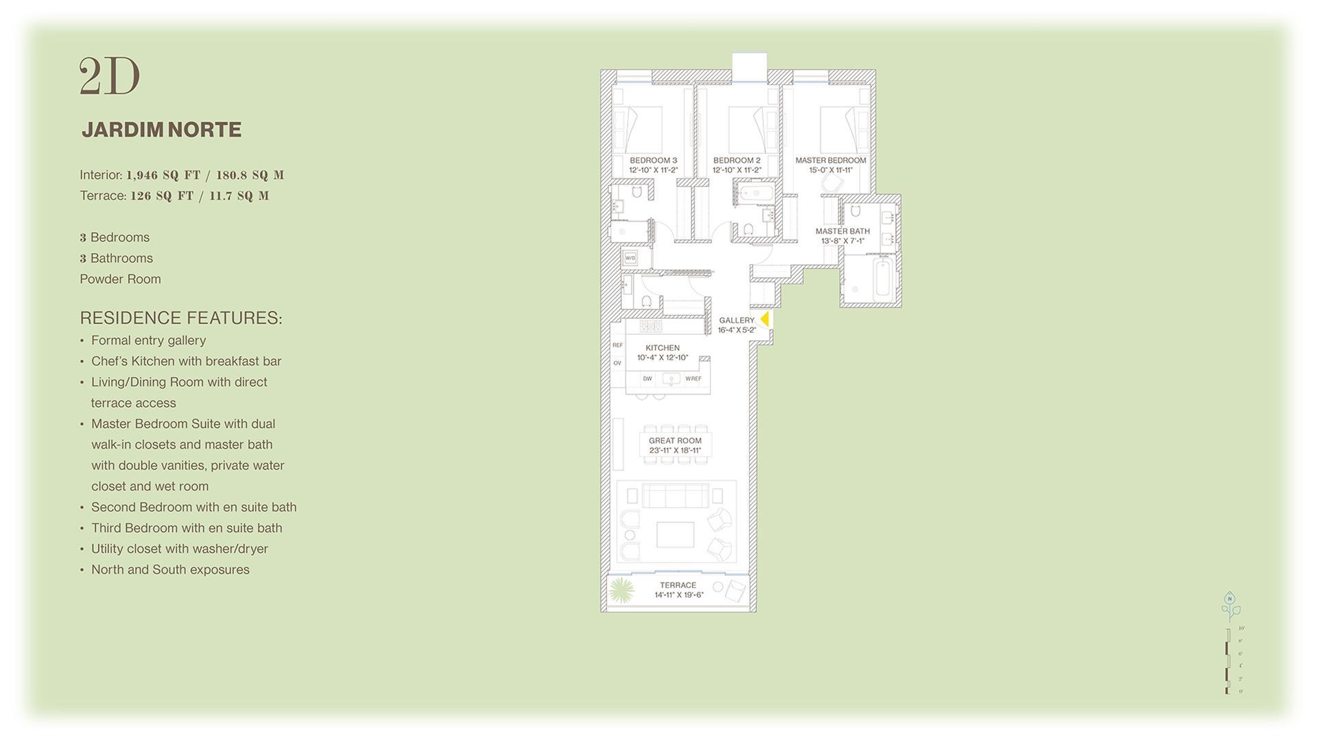 Floor plan of Jardim, 527 West 27th St, 2D - Chelsea, New York