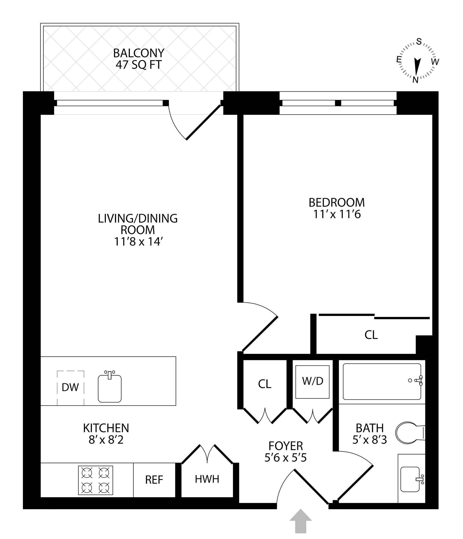 Floor plan of 204 Monroe St, 3B - Bedford - Stuyvesant, New York