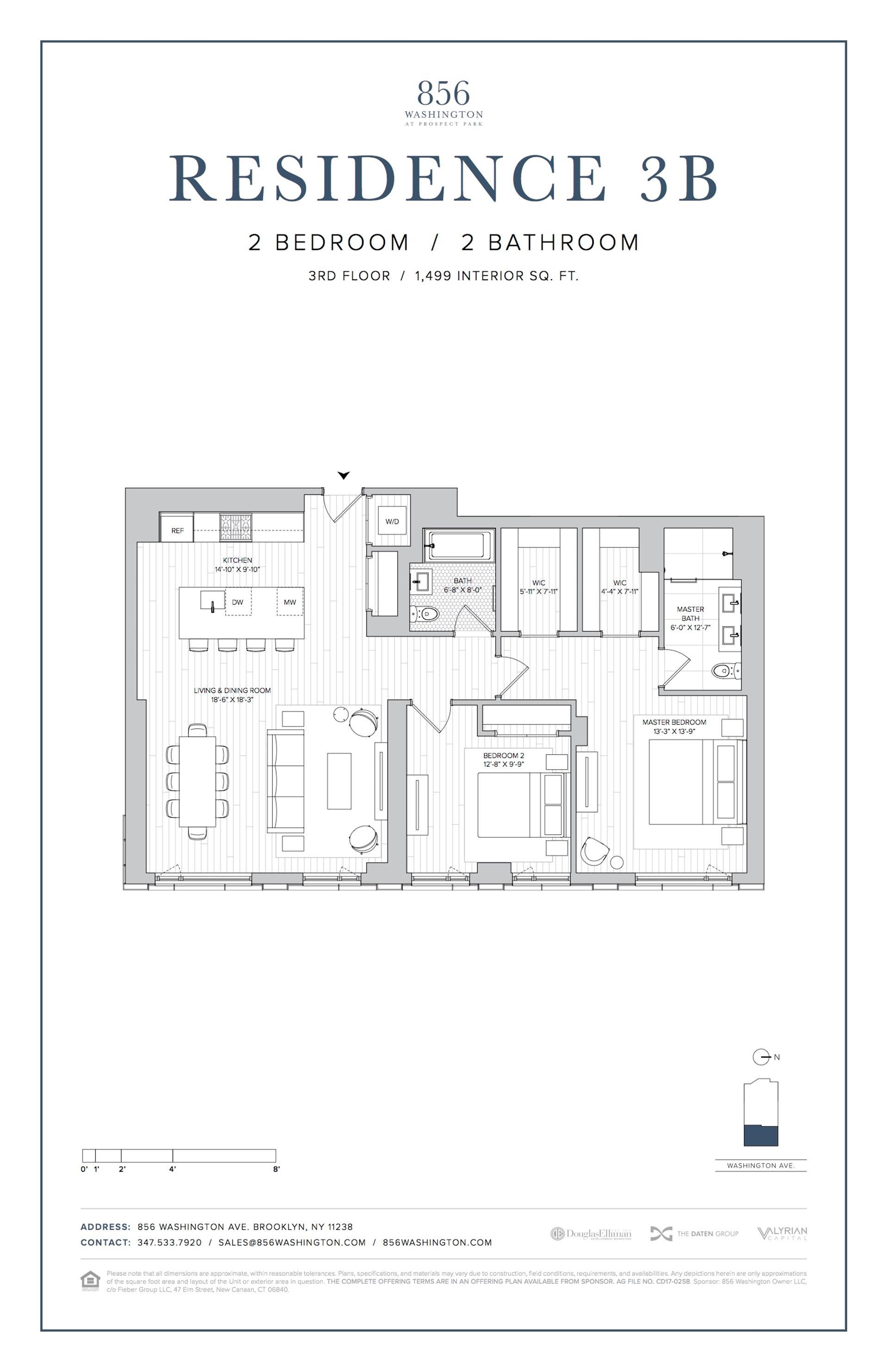 Floor plan of 856 Washington Avenue, 3B - Prospect Heights, New York