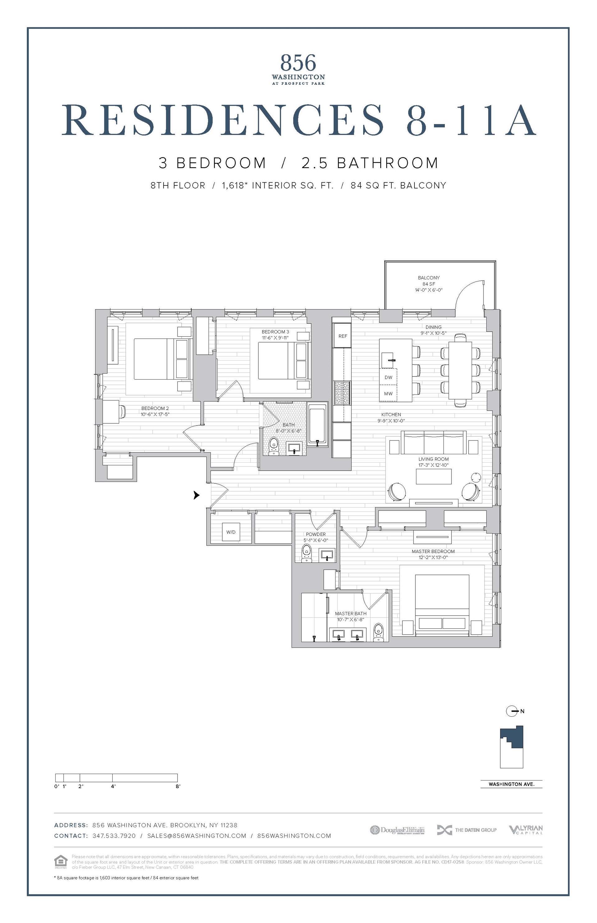 Floor plan of 856 Washington Avenue, 8A - Prospect Heights, New York