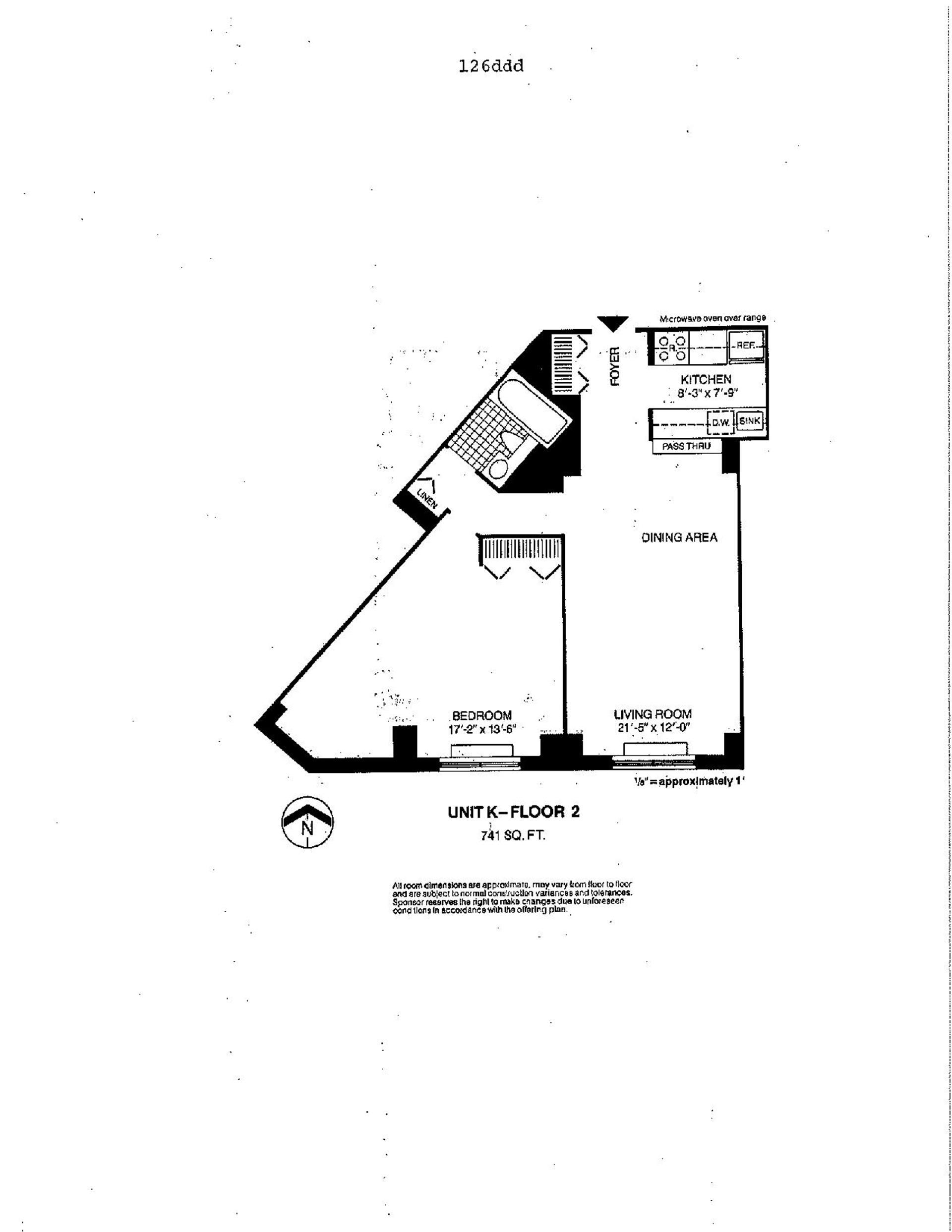 Floor plan of Liberty Residences, 377 Rector Pl, 2K - Battery Park City, New York