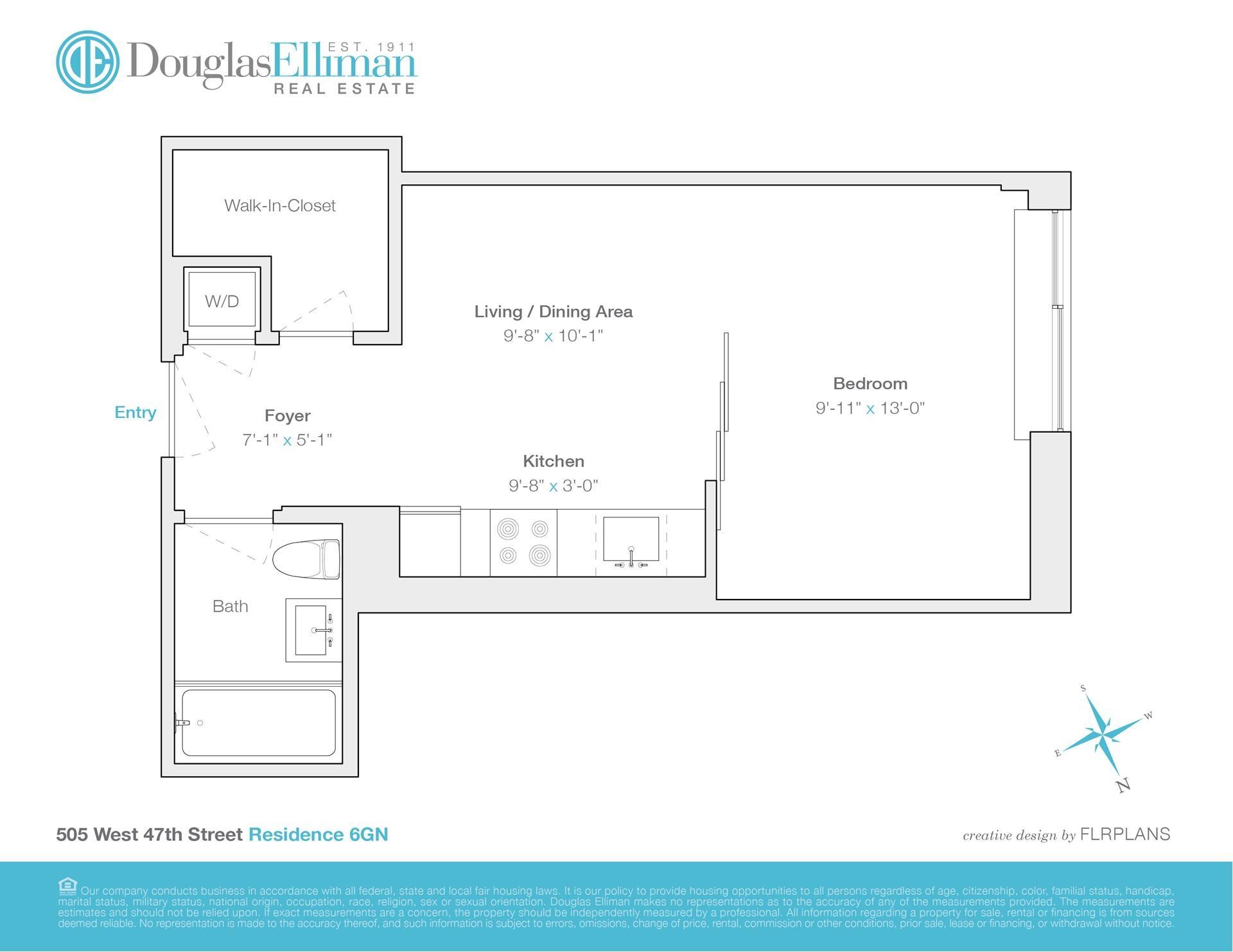 Floor plan of 505 West 47th St, 6GN - Clinton, New York
