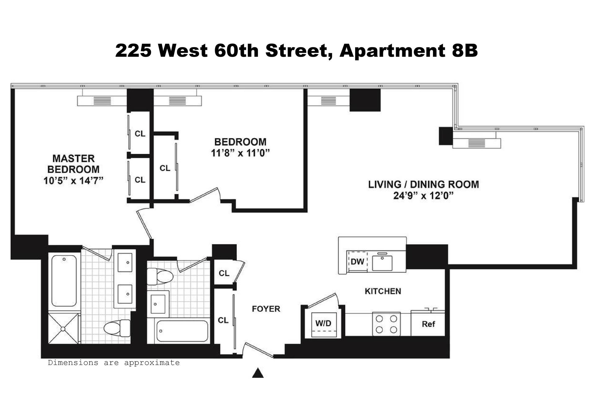 Floor plan of THE HUDSON, 225 West 60th St, 8B - Lincoln Square, New York