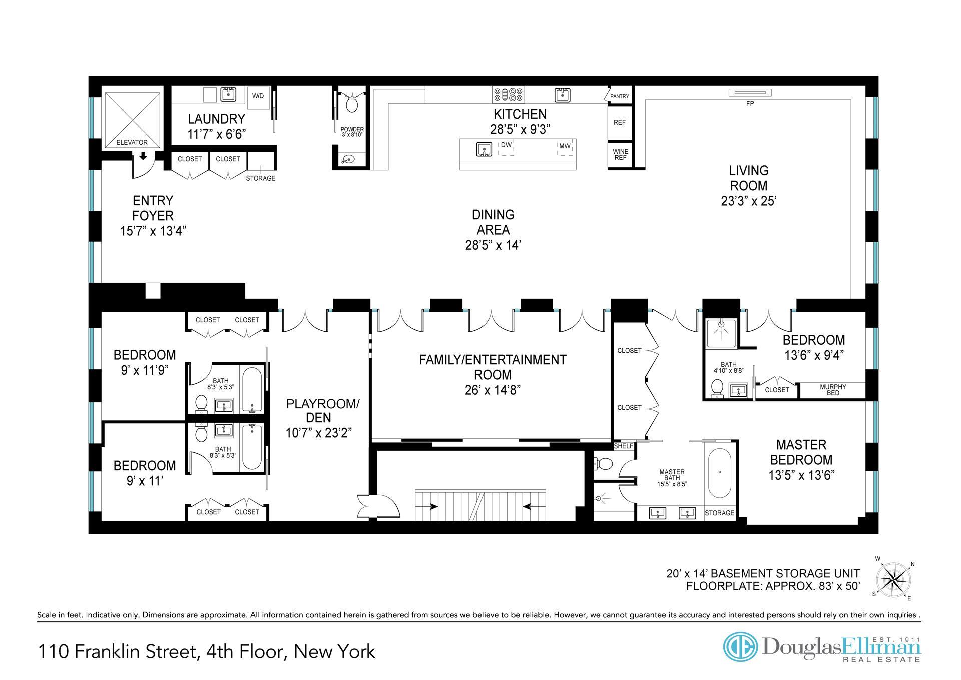 Floor plan of 108 Franklin St, 4THFLR - TriBeCa, New York