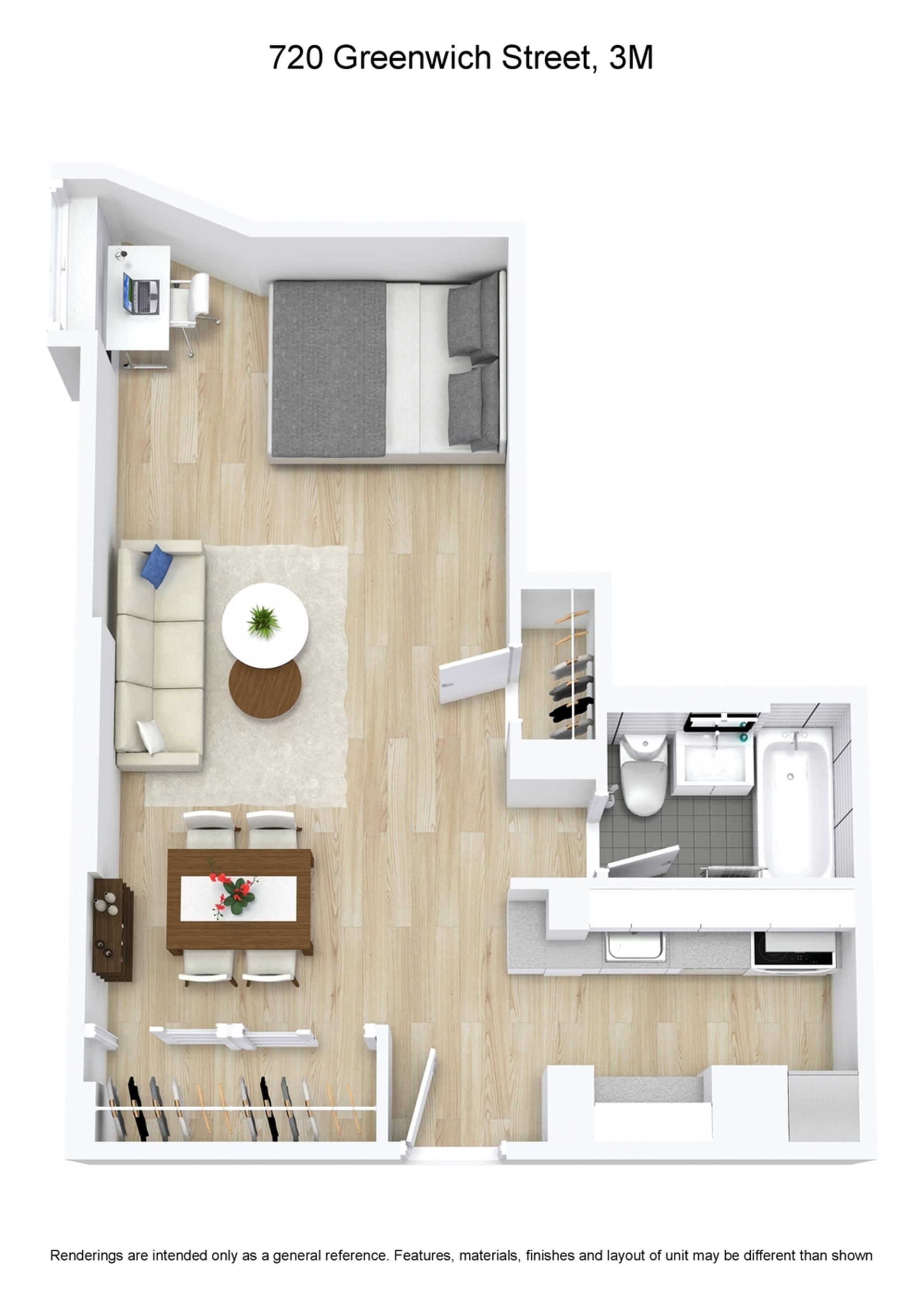 Floor plan of 720 Greenwich St, 3M - West Village - Meatpacking District, New York