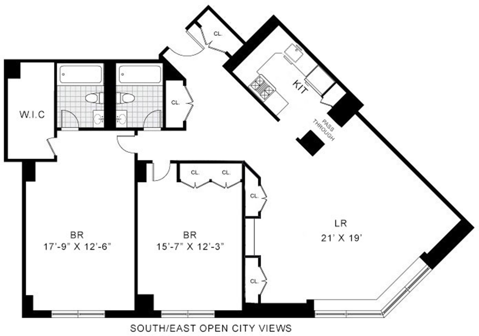 Floor plan of Carnegie Hill Tower, 40 East 94th St, 21G - Carnegie Hill, New York