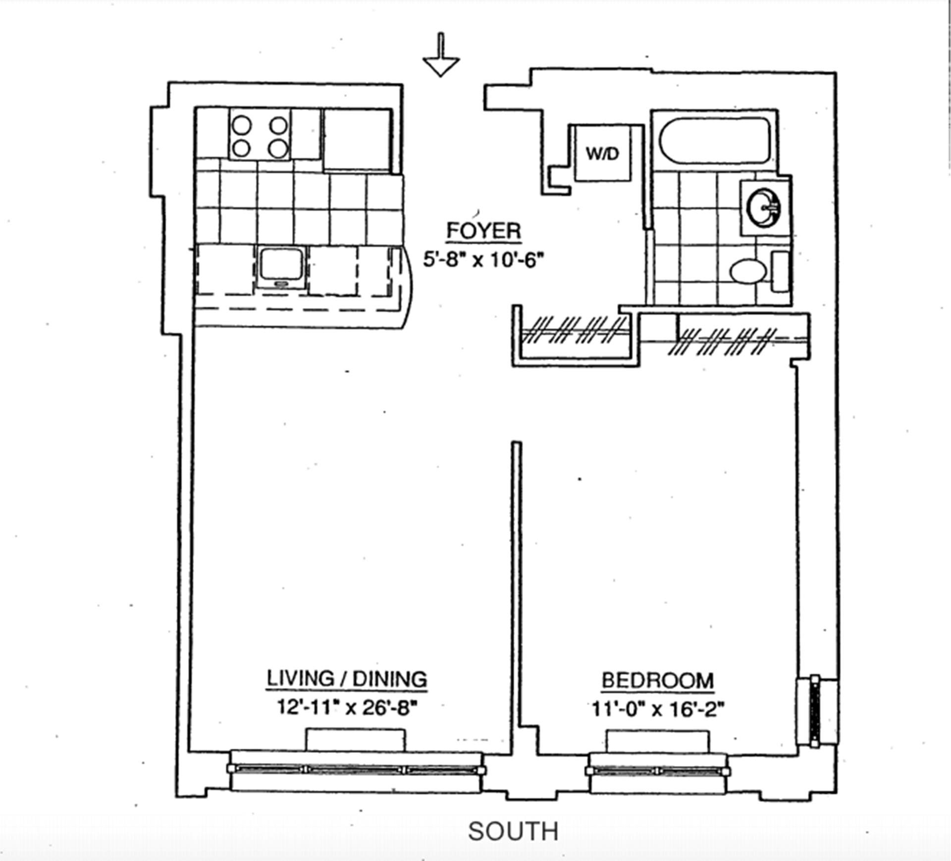 Floor plan of 555 West 23rd St, S6D - Chelsea, New York