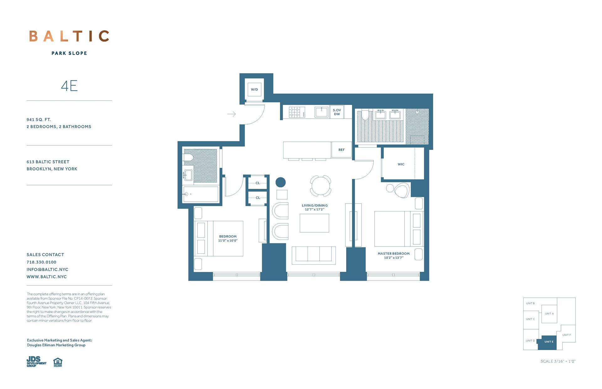 Floor plan of 613 Baltic St, 4E - Park Slope, New York