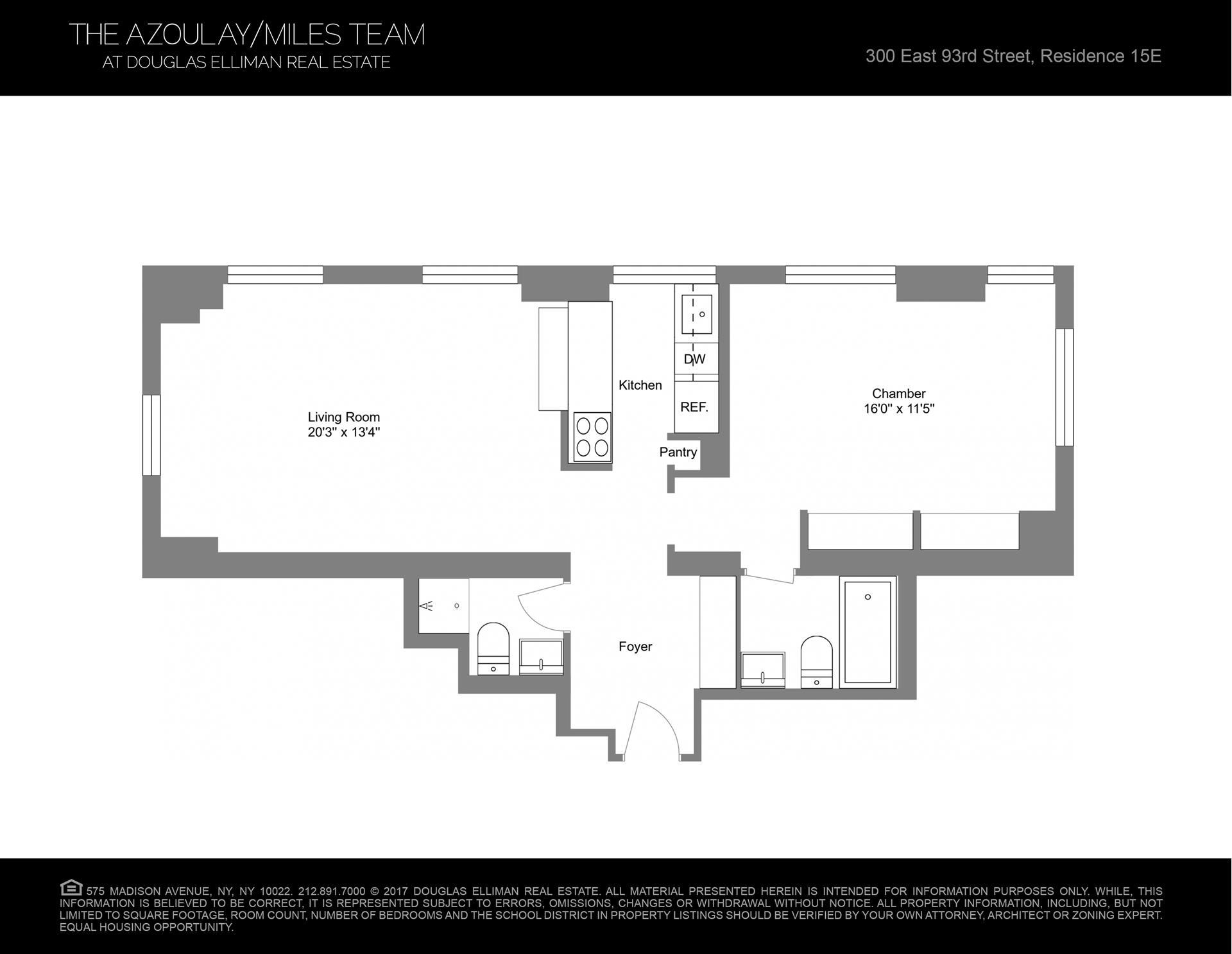 Floor plan of 300 East 93rd St, 15E - Upper East Side, New York