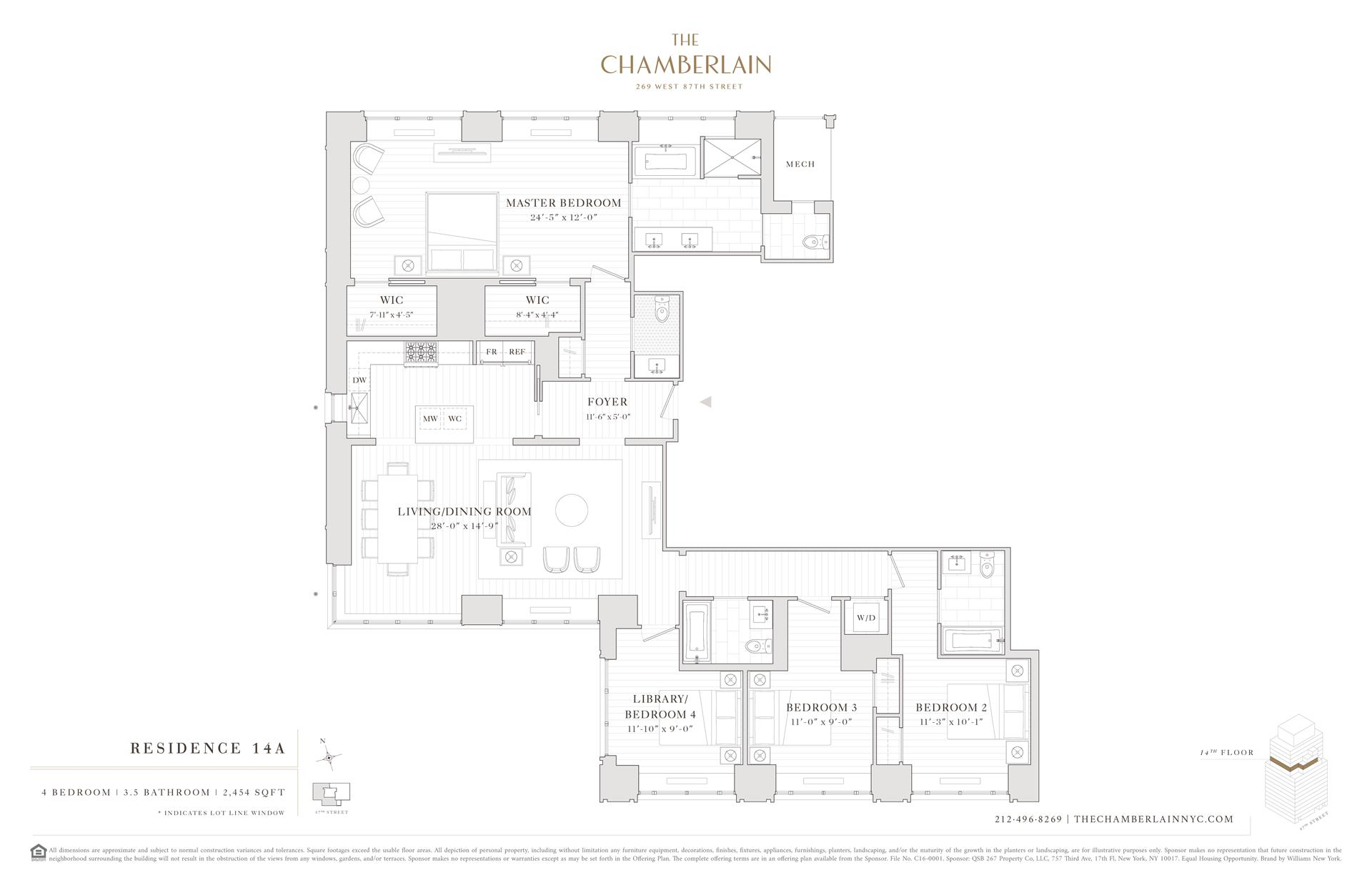 Floor plan of 269 West 87th St, 14A - Upper West Side, New York