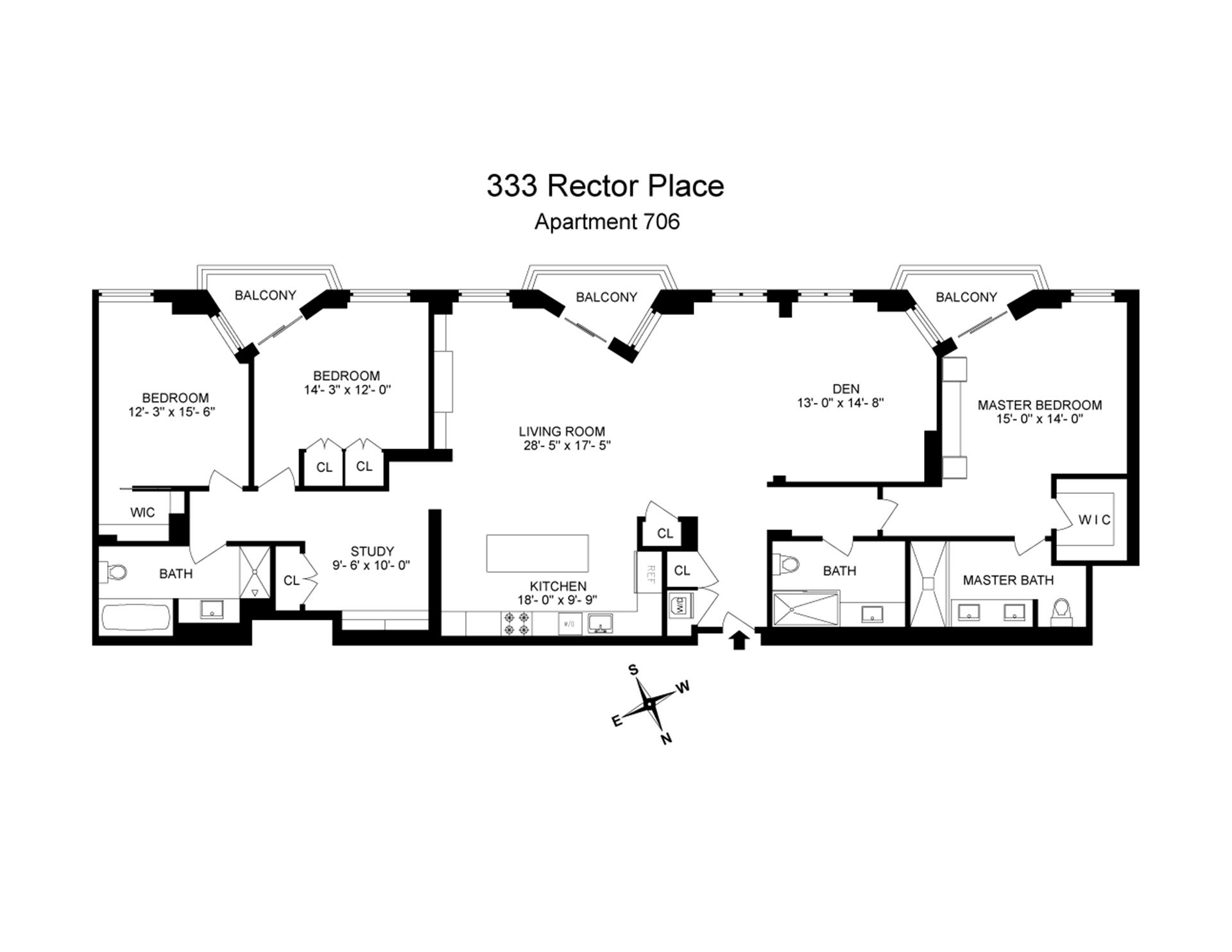 Floor plan of One Rector Park, 333 Rector Pl, 706 - Battery Park City, New York
