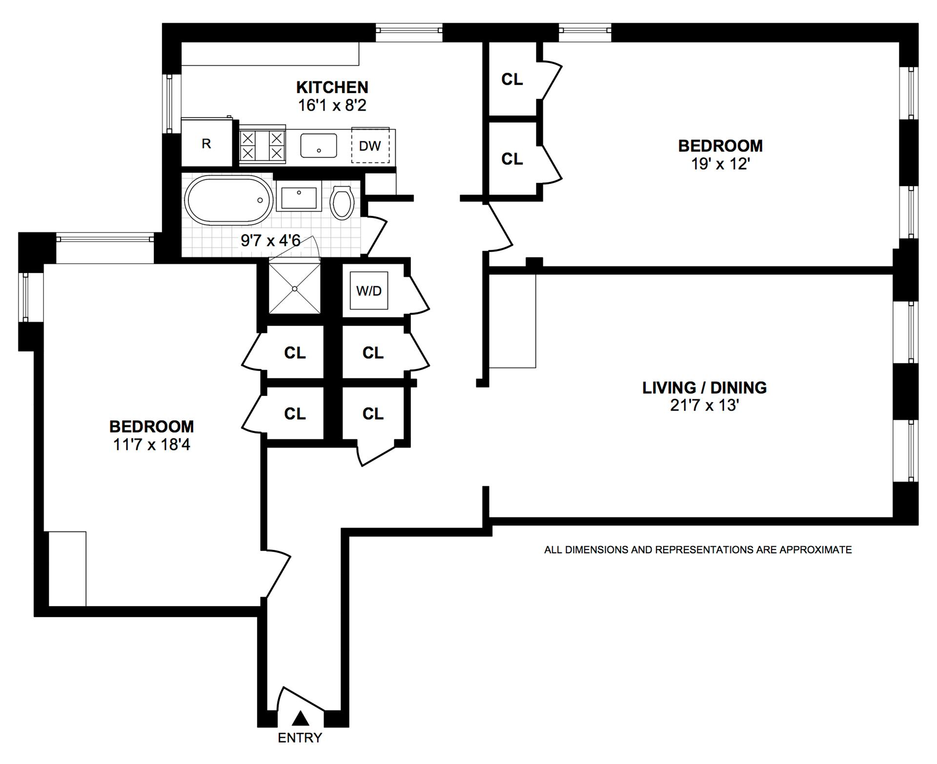 Floor plan of 81 Ocean Pkwy, 4J - Windsor Terrace, New York