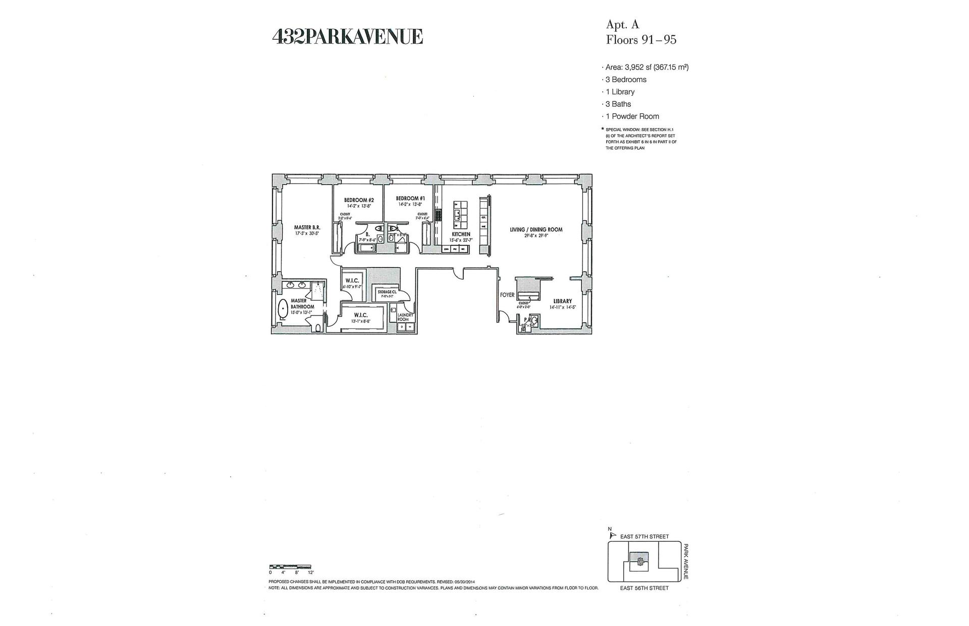Floor plan of 432 Park Avenue, PH93A - Midtown, New York