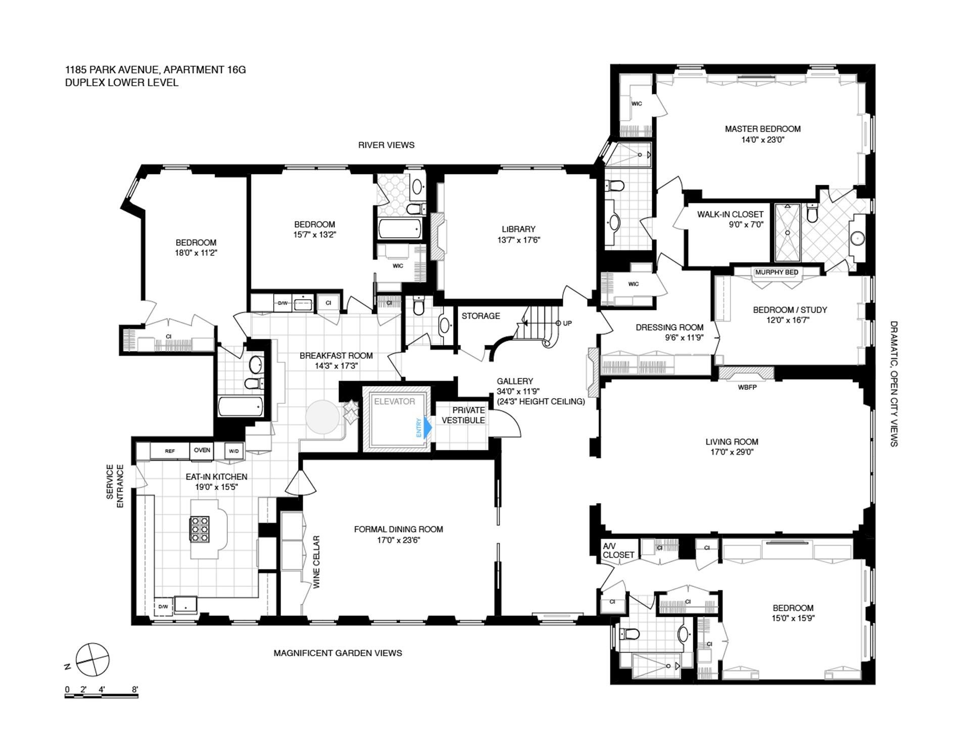 Floor plan of 1185 Park Avenue, PH16G - Carnegie Hill, New York