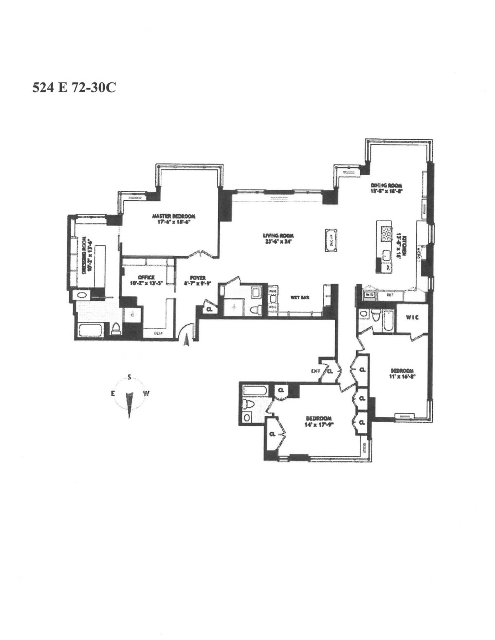 Floor plan of THE BELAIRE, 524 East 72nd St, 30D - Upper East Side, New York