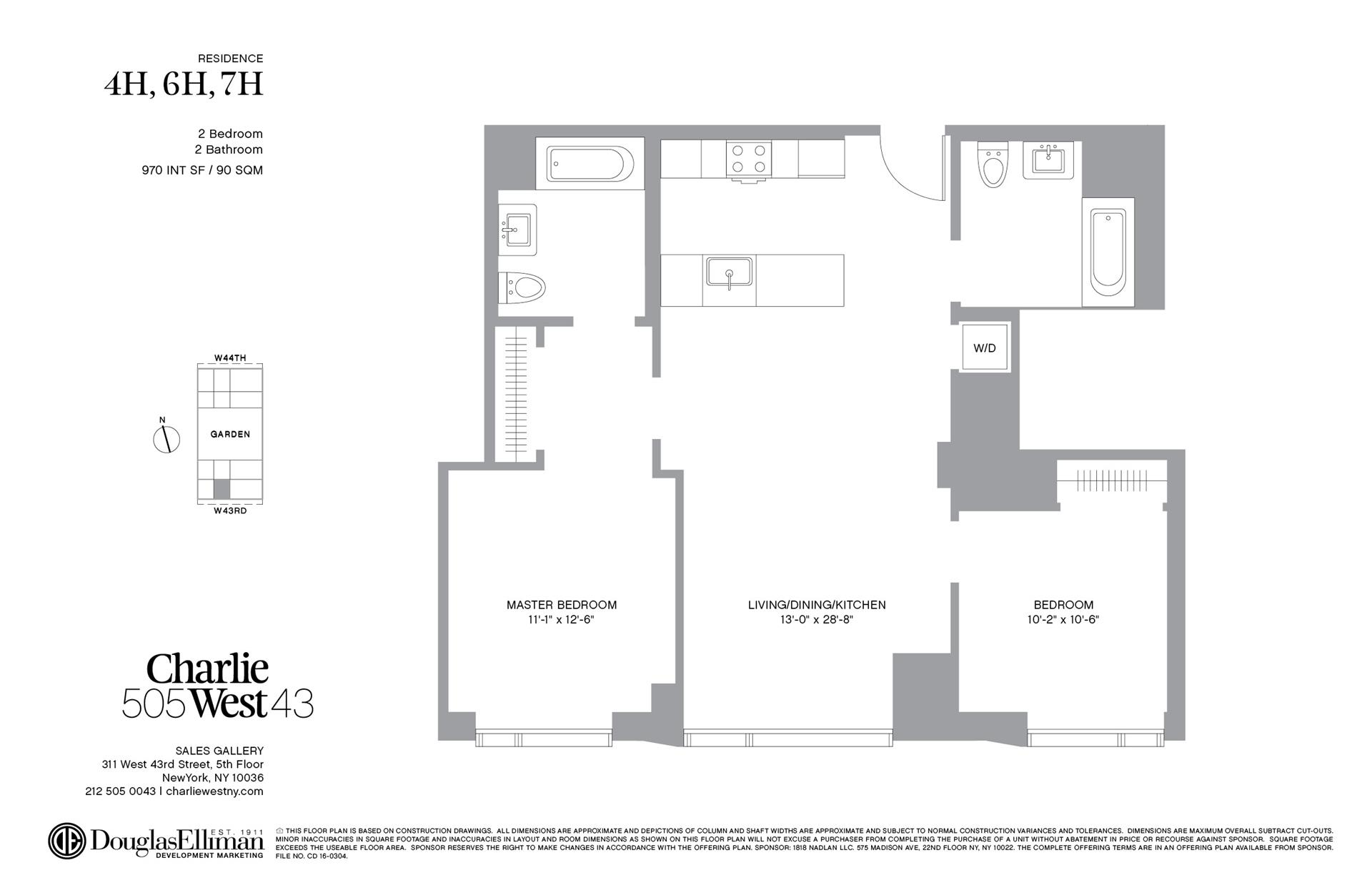 Floor plan of 505 West 43rd St, 7H - Clinton, New York
