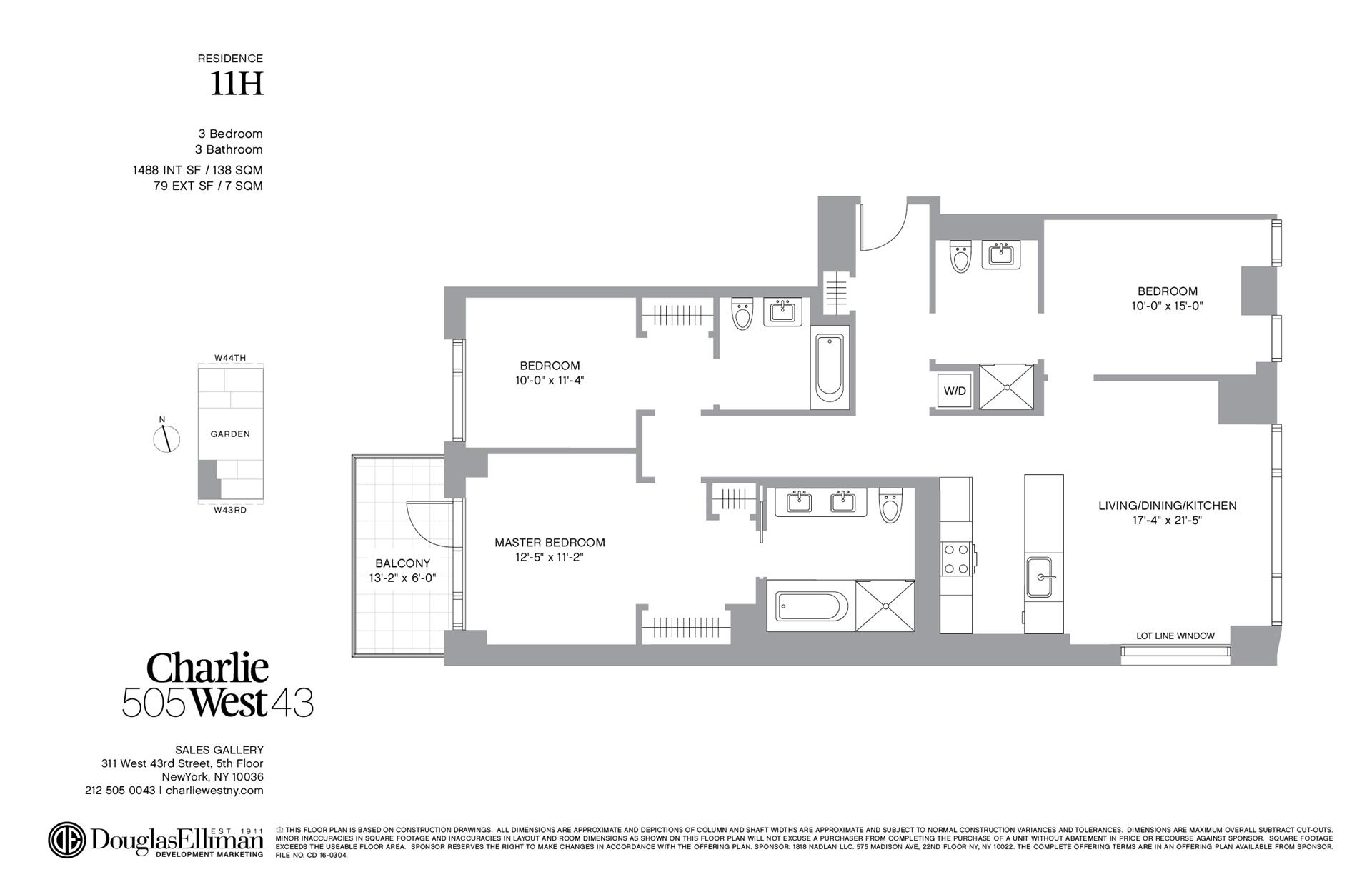 Floor plan of 505 West 43rd St, 11H - Clinton, New York