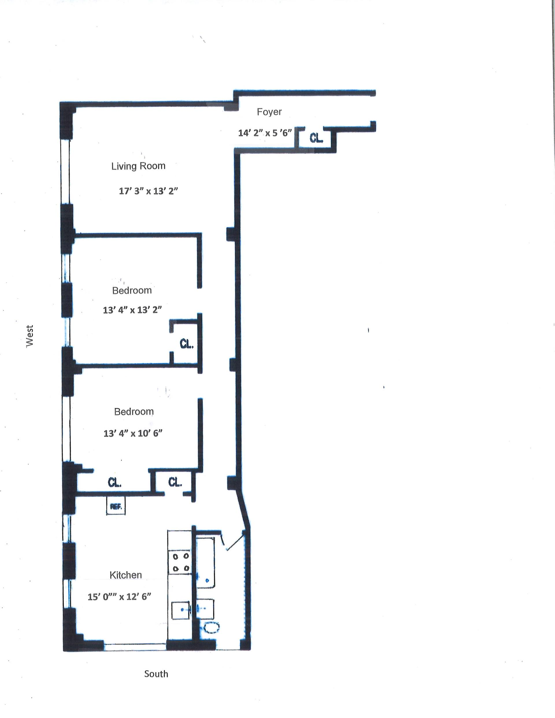 Floor plan of MANCHESTER, 255 West 108th St, 2A1 - Upper West Side, New York