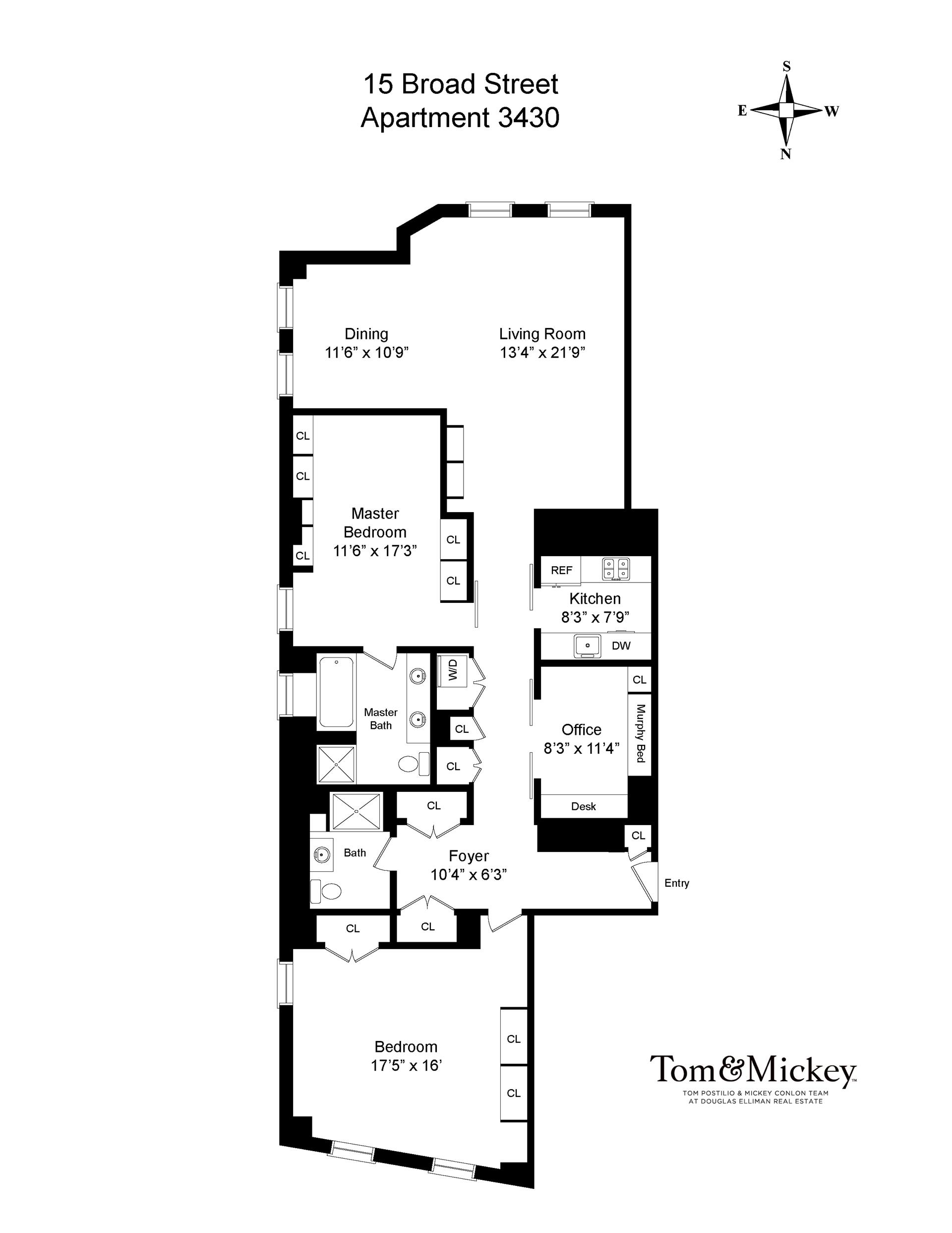 Floor plan of DOWNTOWN BY STARCK, 15 Broad St, 3430 - Financial District, New York