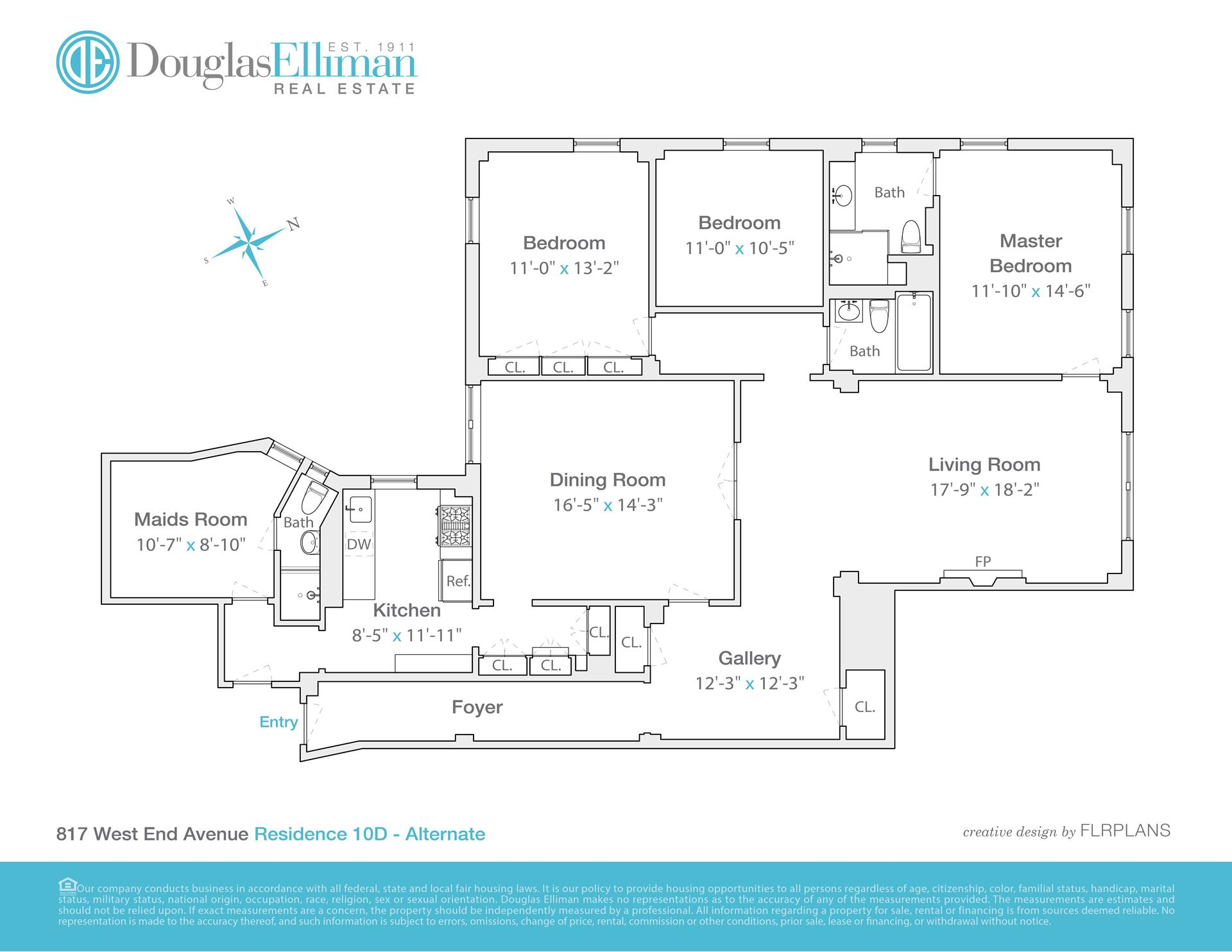 Floor plan of 817 West End Avenue, 10D - Upper West Side, New York