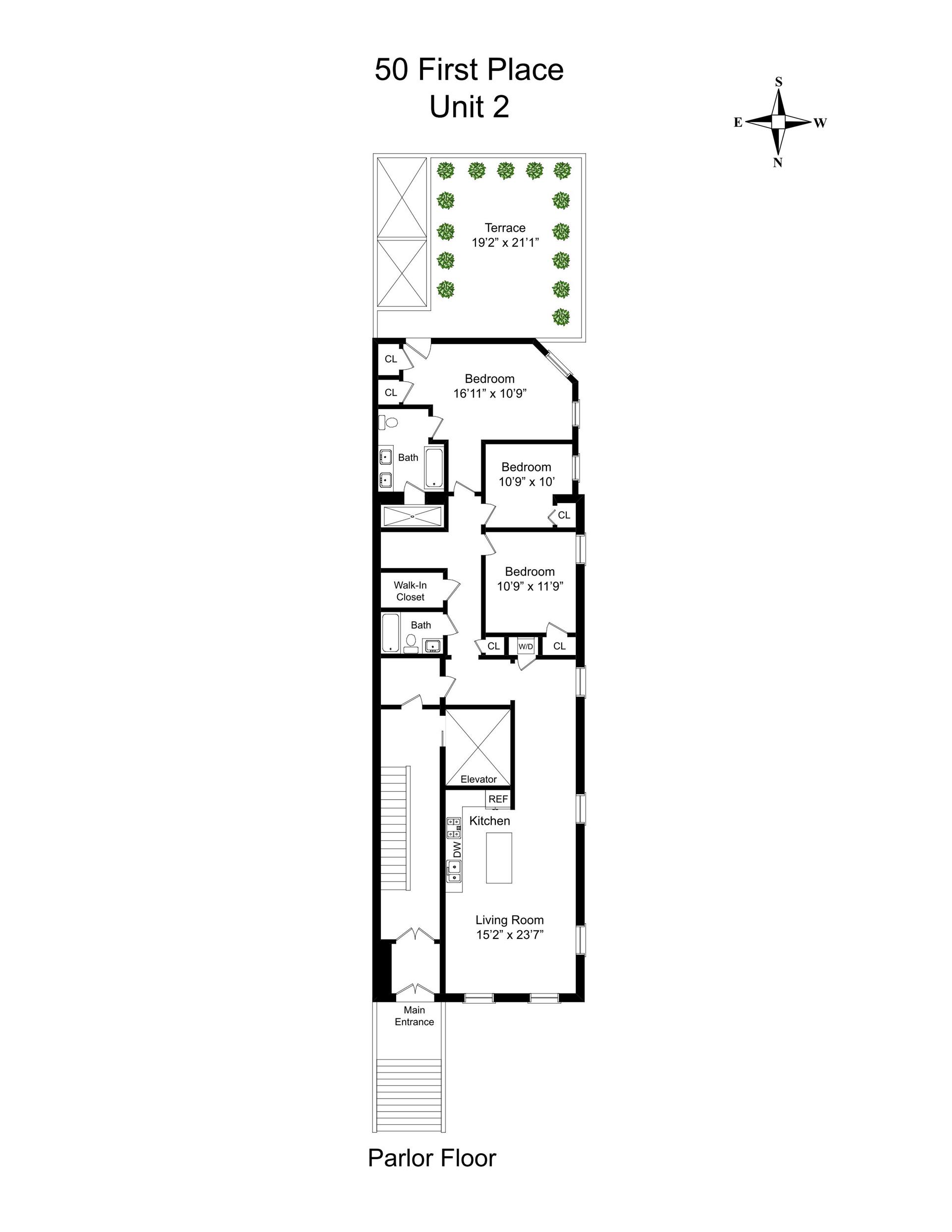 Floor plan of 50 First Pl, 2 - Carroll Gardens, New York