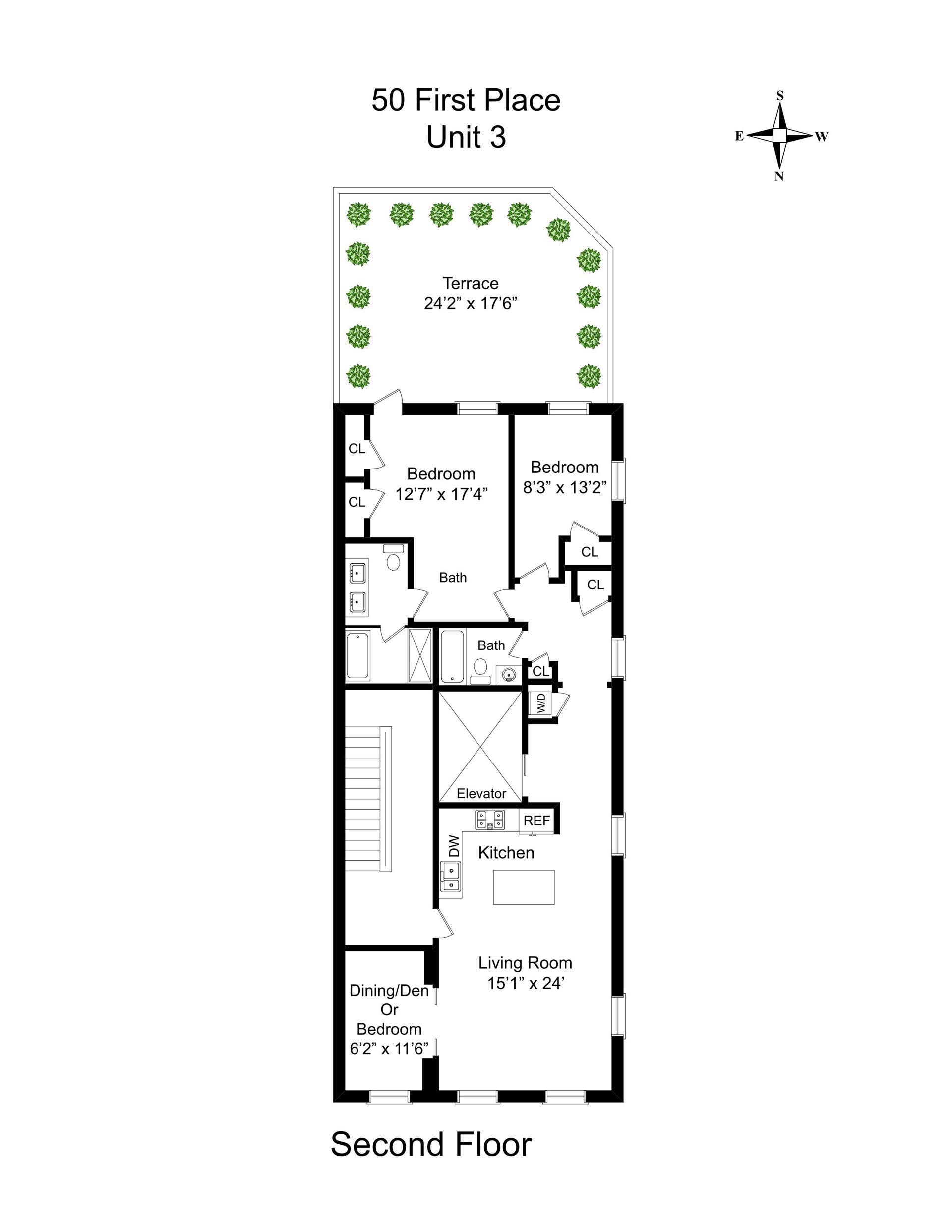 Floor plan of 50 First Pl, 3 - Carroll Gardens, New York
