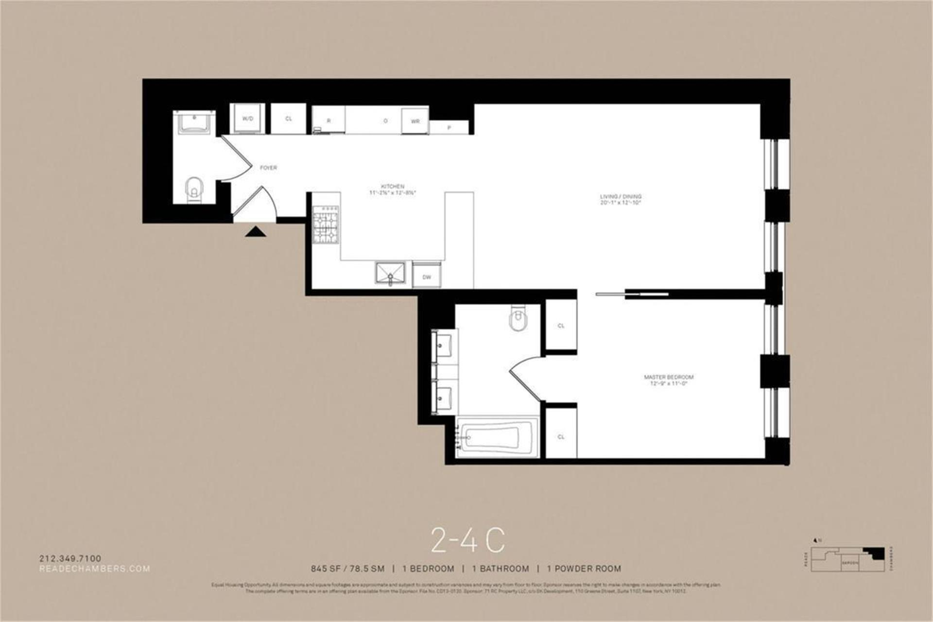 Floor plan of Reade Chambers, 71 Reade St, 4C - TriBeCa, New York