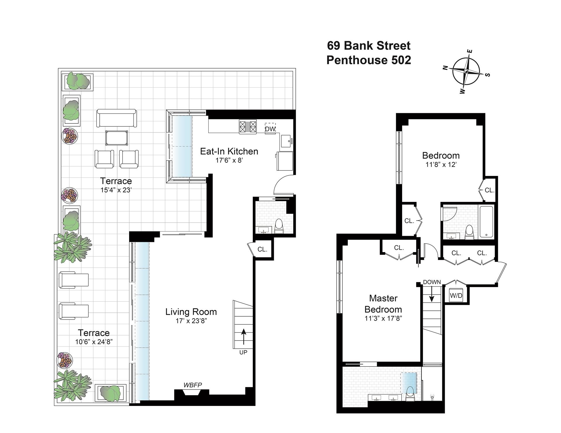 Floor plan of BANK STRAND, 69 Bank St, PH502 - West Village - Meatpacking District, New York