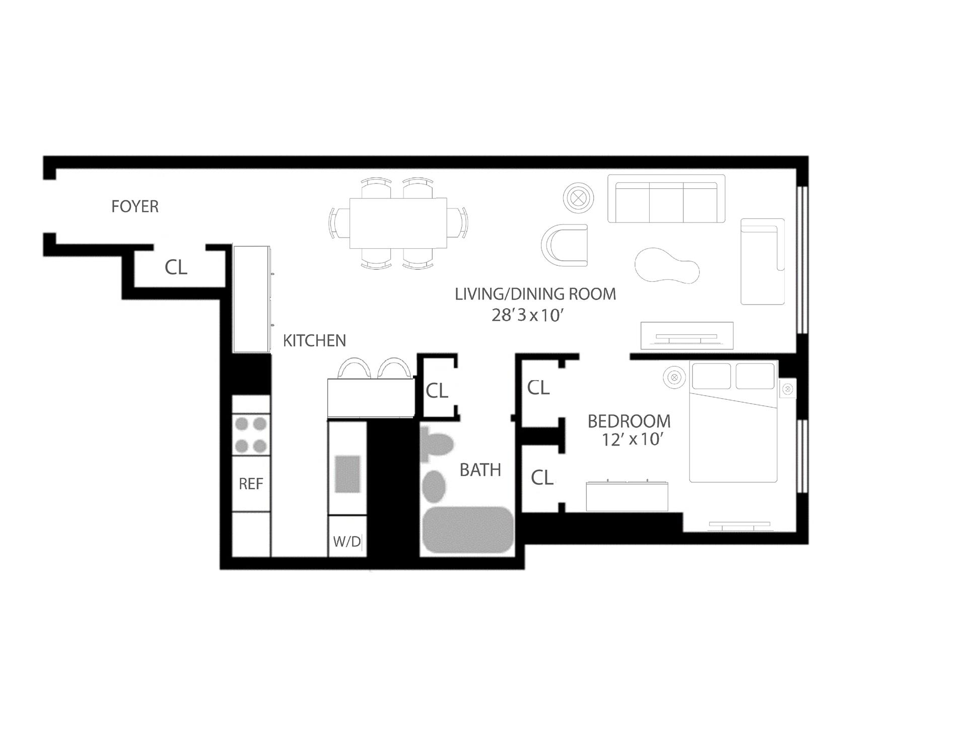 Floor plan of THE ALBERT, 23 East 10th St, 5D - Greenwich Village, New York