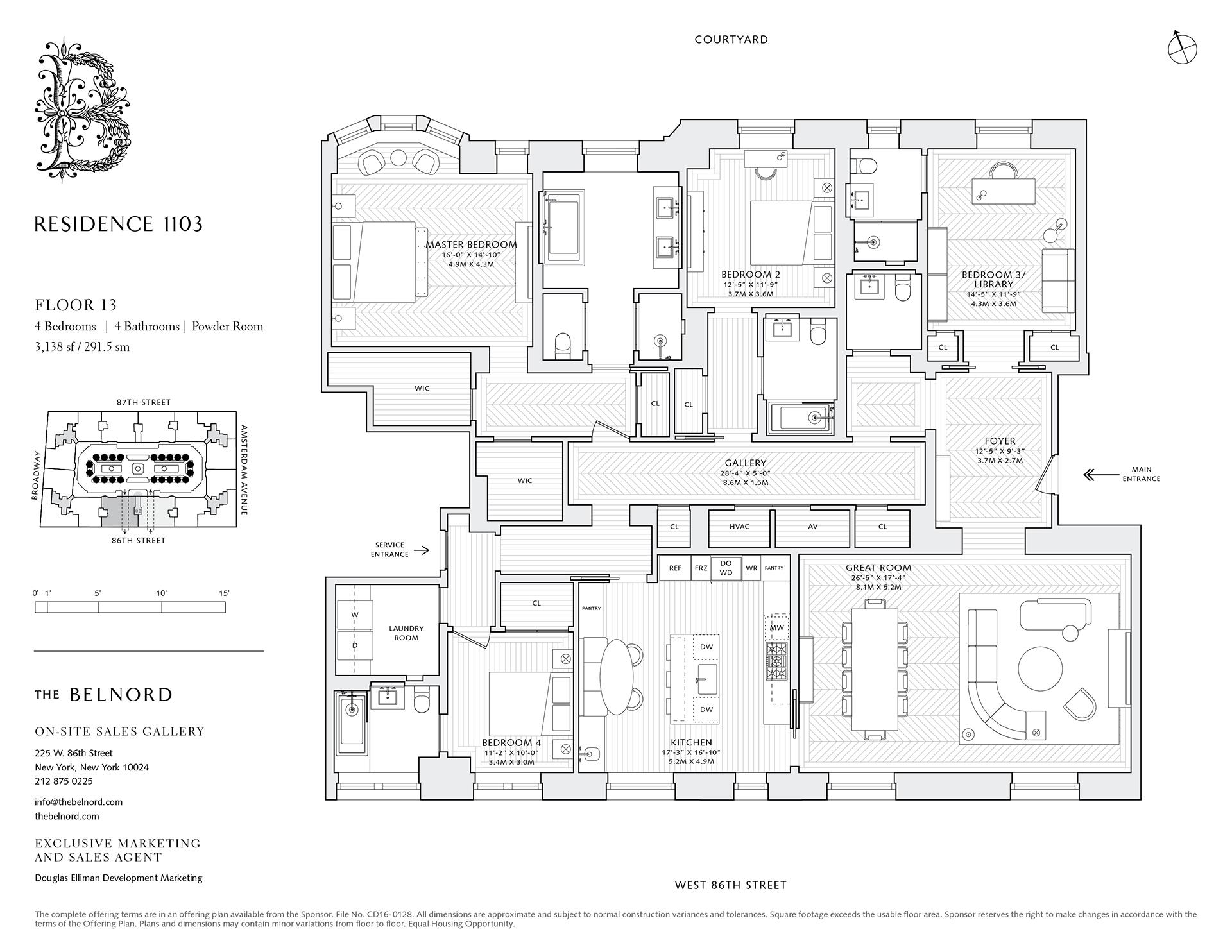 Floor plan of The Belnord, 225 West 86th Street, 1103 - Upper West Side, New York
