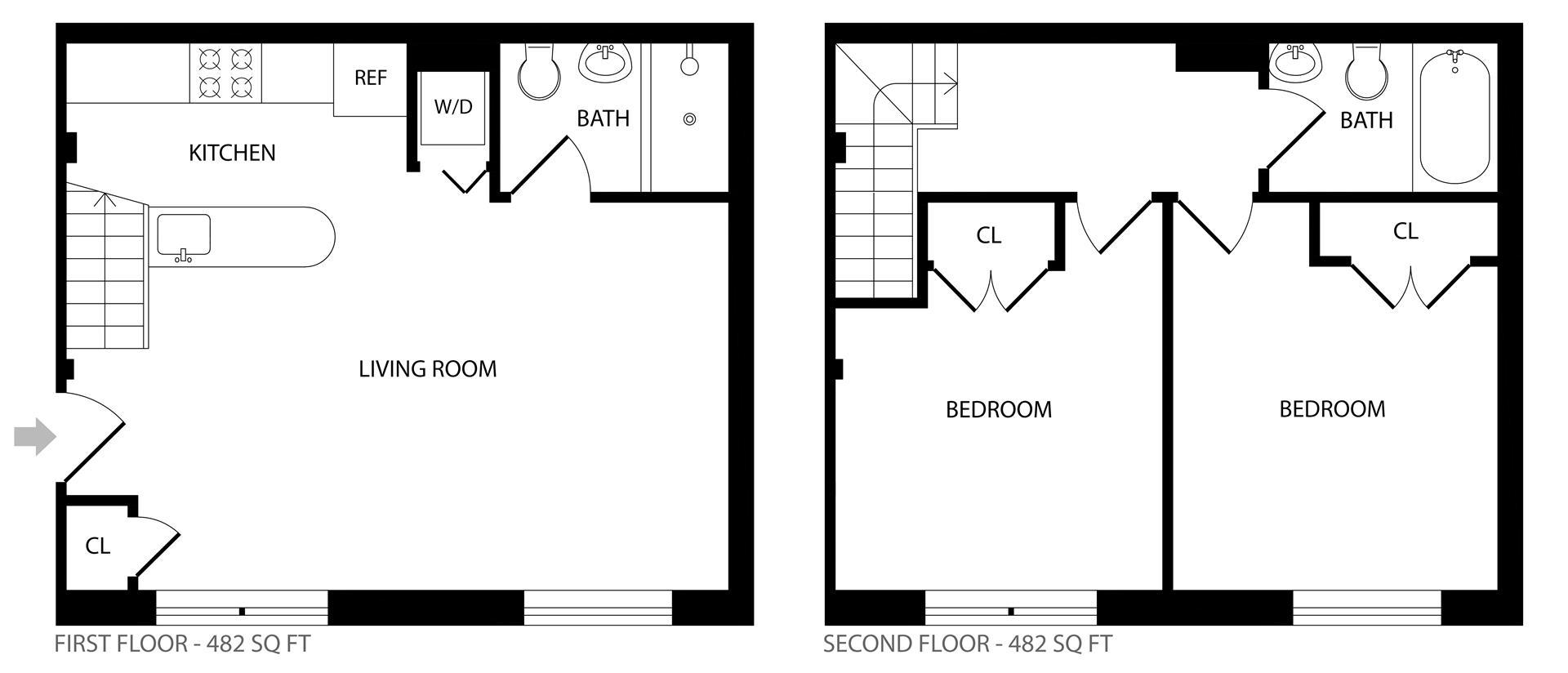 Floor plan of 117 Kingsland Avenue, 1B - Greenpoint, New York