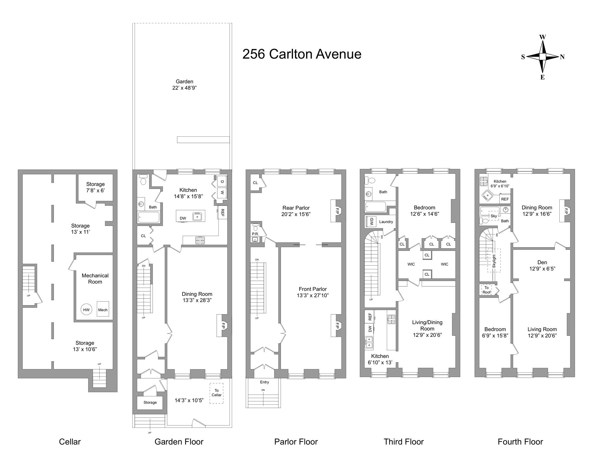 Floor plan of 256 Carlton Avenue - Fort Greene, New York