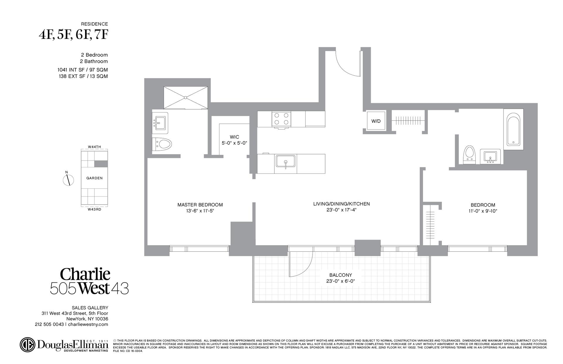 Floor plan of 505 West 43rd St, 4F - Clinton, New York