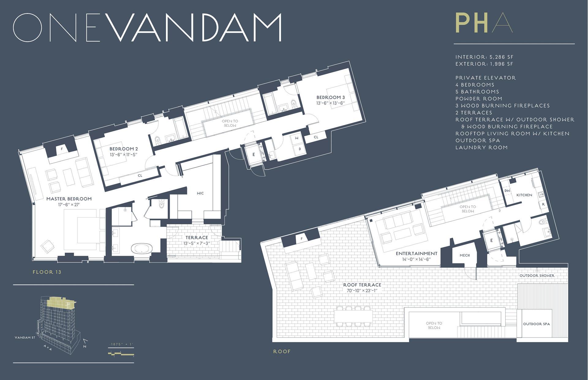 Floor plan of One Vandam, 180 Sixth Avenue, PENTHOUSEA - SoHo - Nolita, New York
