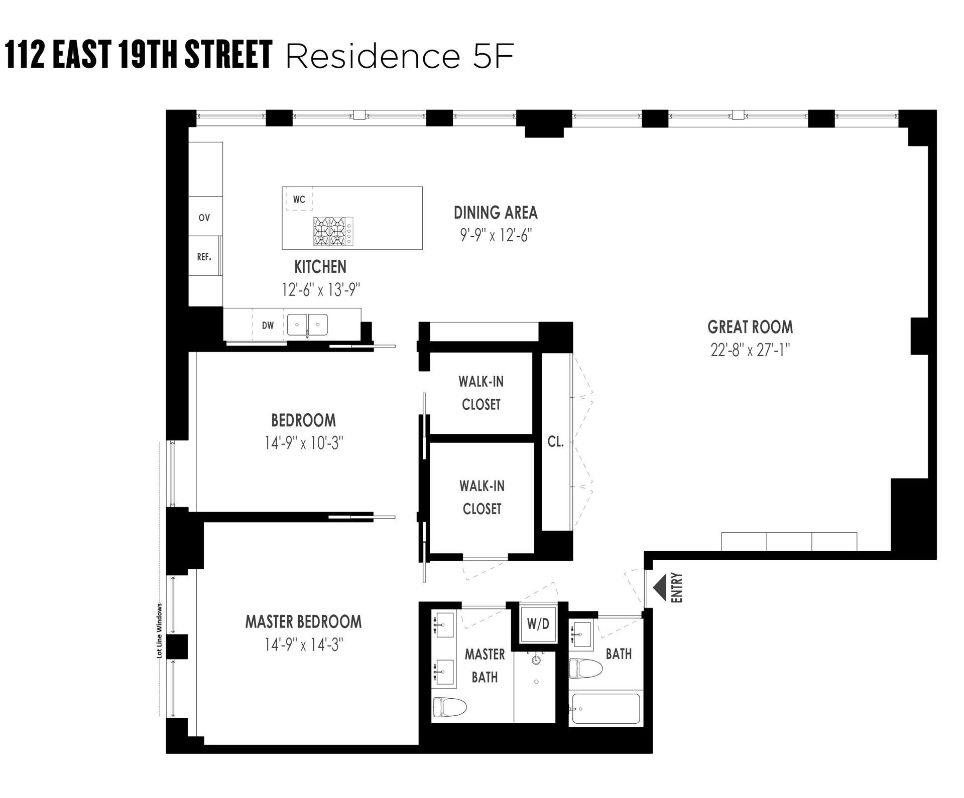 Floor plan of 112 East 19th St, 5F - Gramercy - Union Square, New York