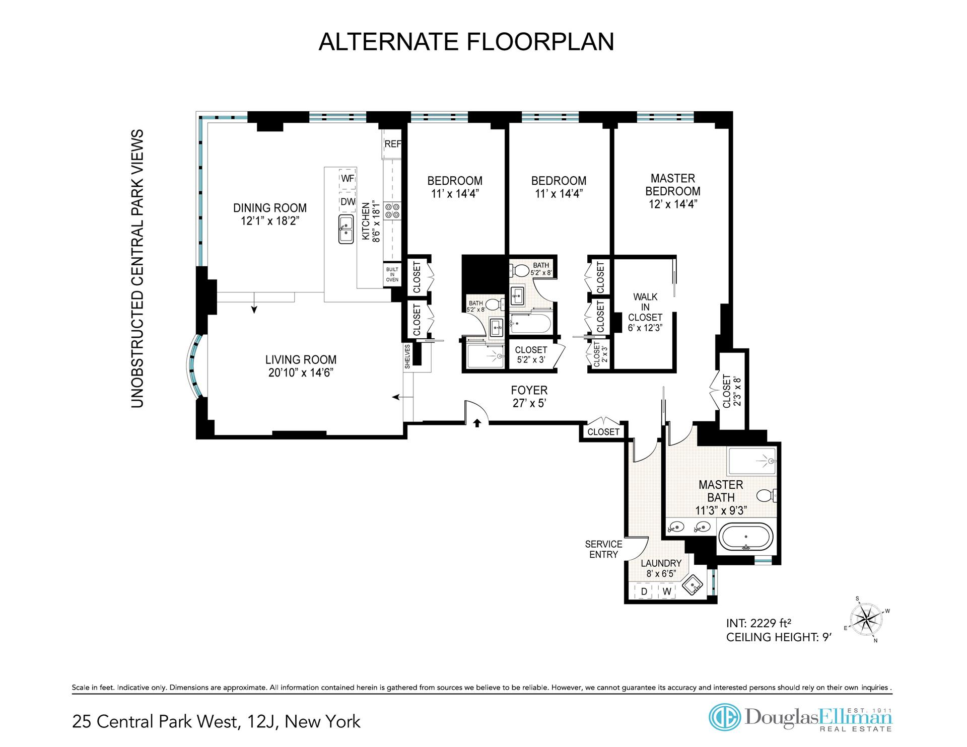 Floor plan of CENTURY, 25 Central Park West, 12J - Lincoln Square, New York