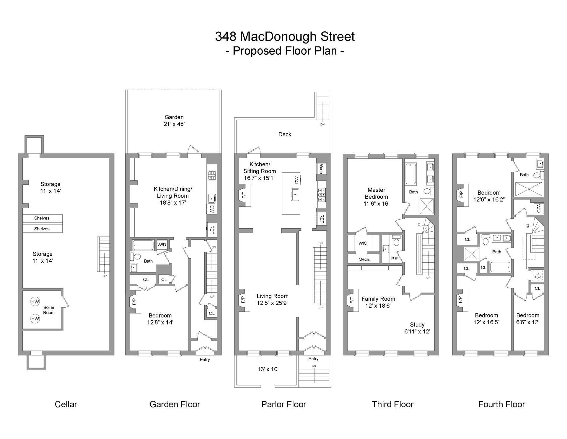 Floor plan of 348 MacDonough St - Stuyvesant Heights, New York