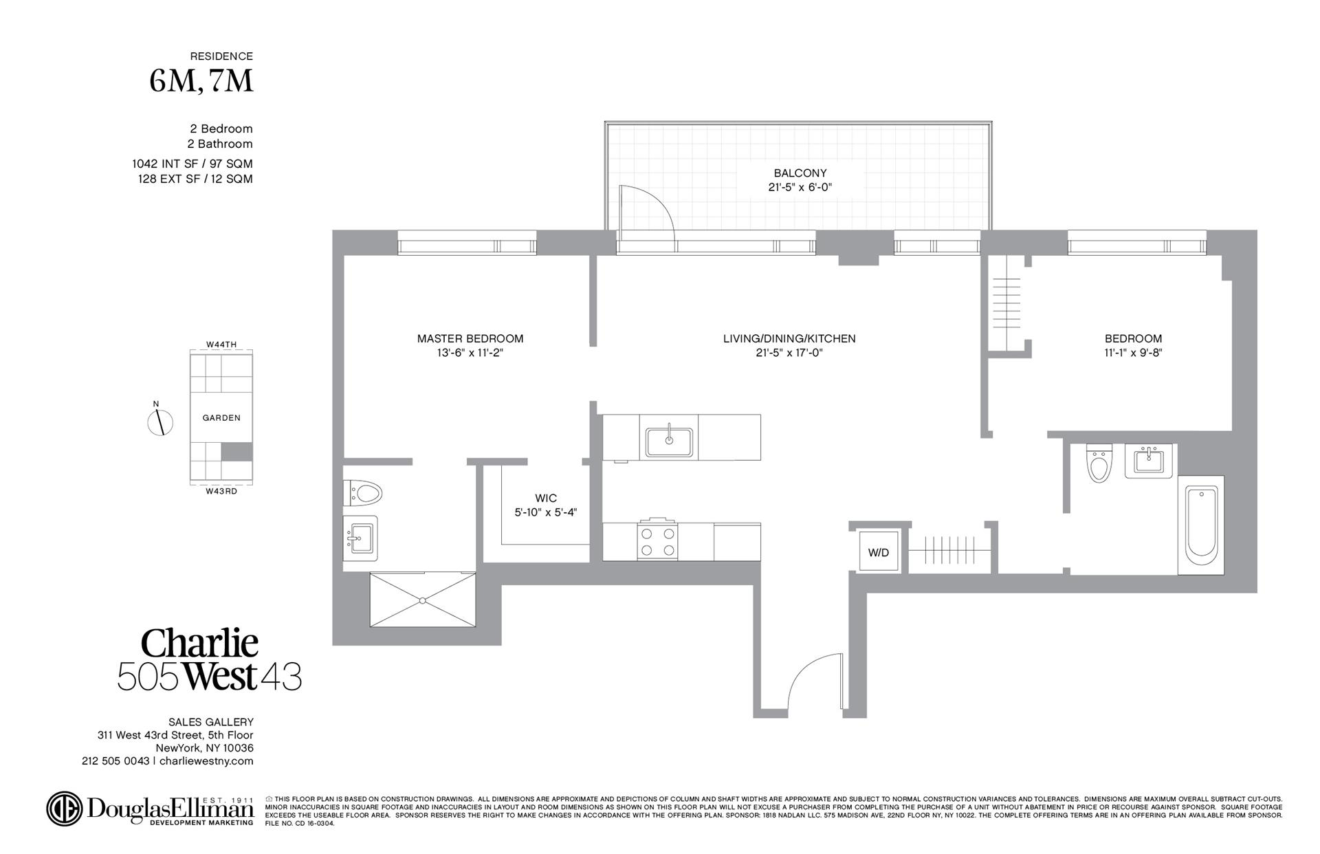 Floor plan of 505 West 43rd Street, 7M - Clinton, New York