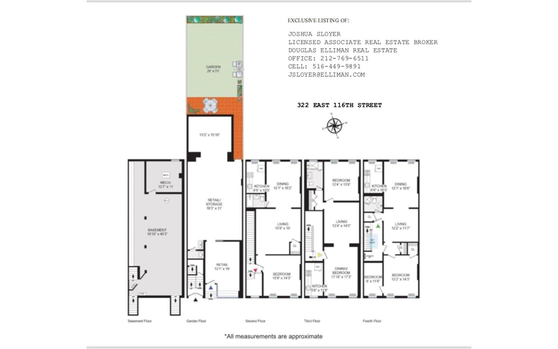 Floor plan of 322-324 East 116th St - East Harlem, New York